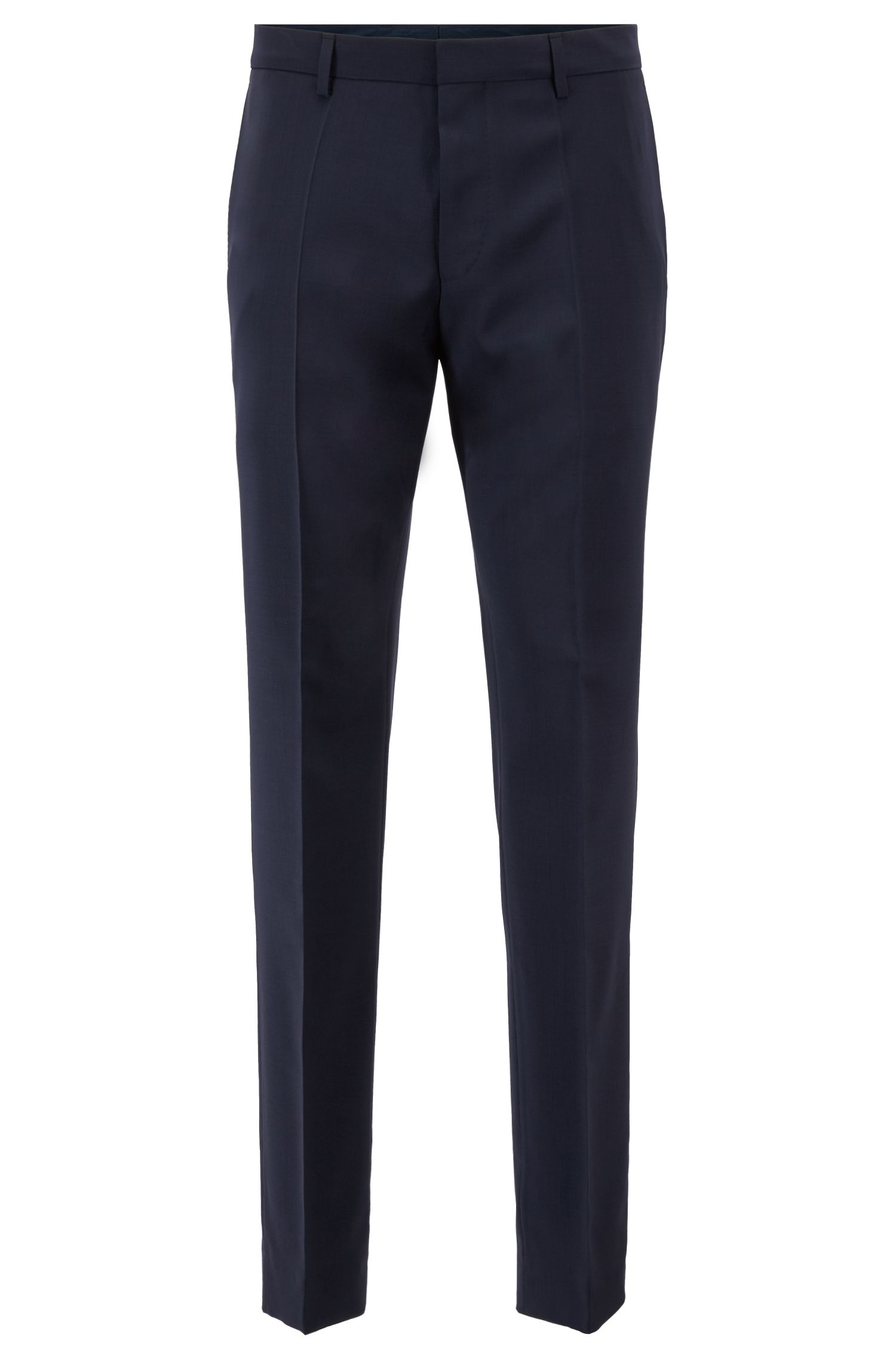 Slim-fit broek van scheerwol, Donkerblauw