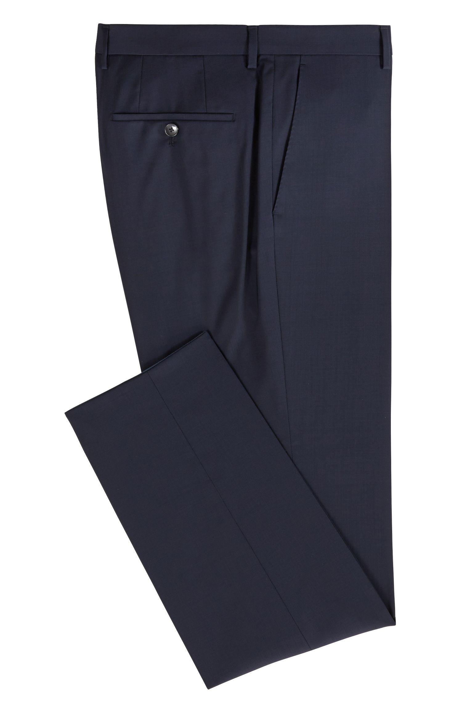Slim-Fit Hose aus Schurwolle, Dunkelblau