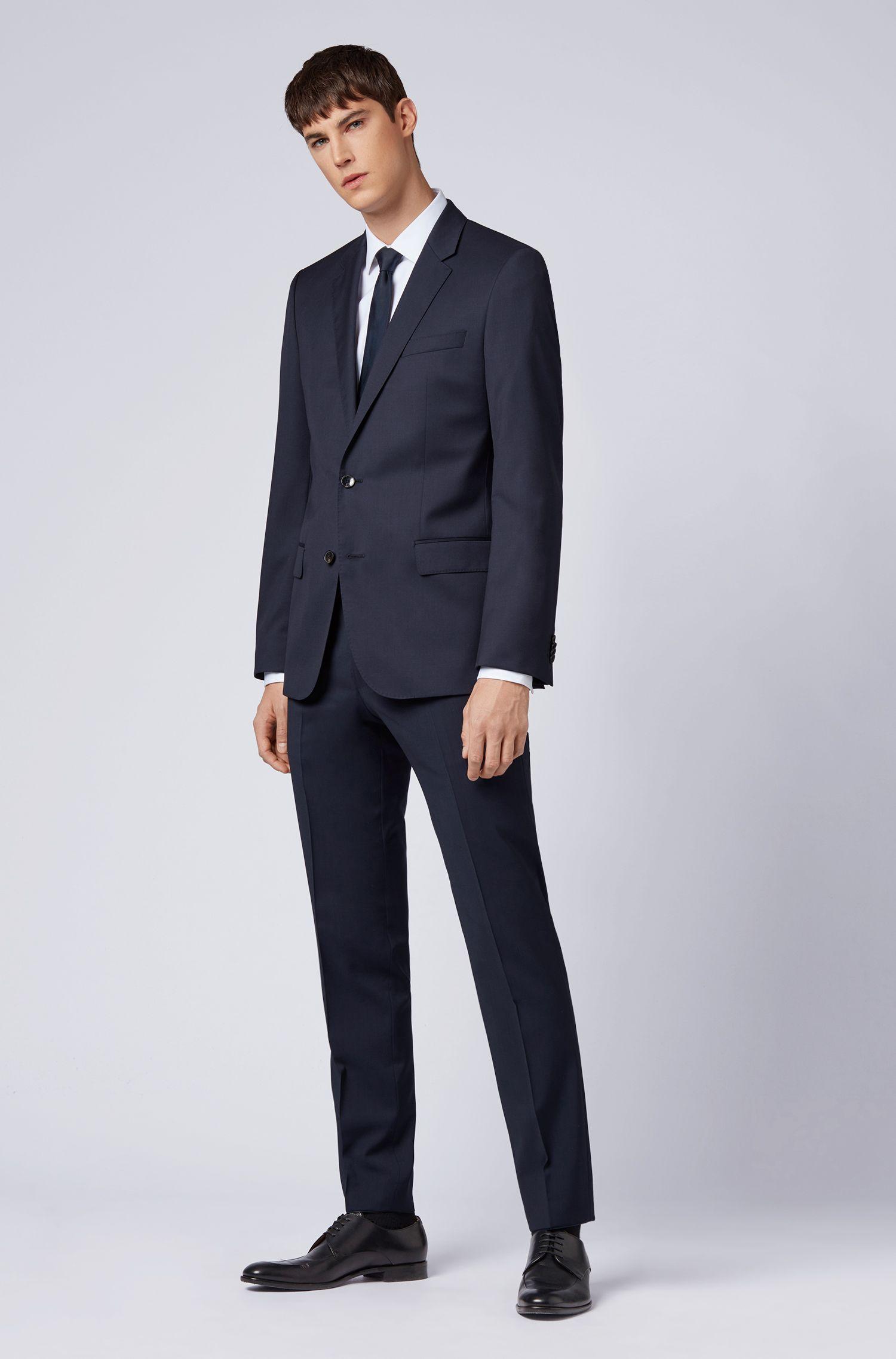 Pantalon Slim Fit en laine vierge, Bleu foncé