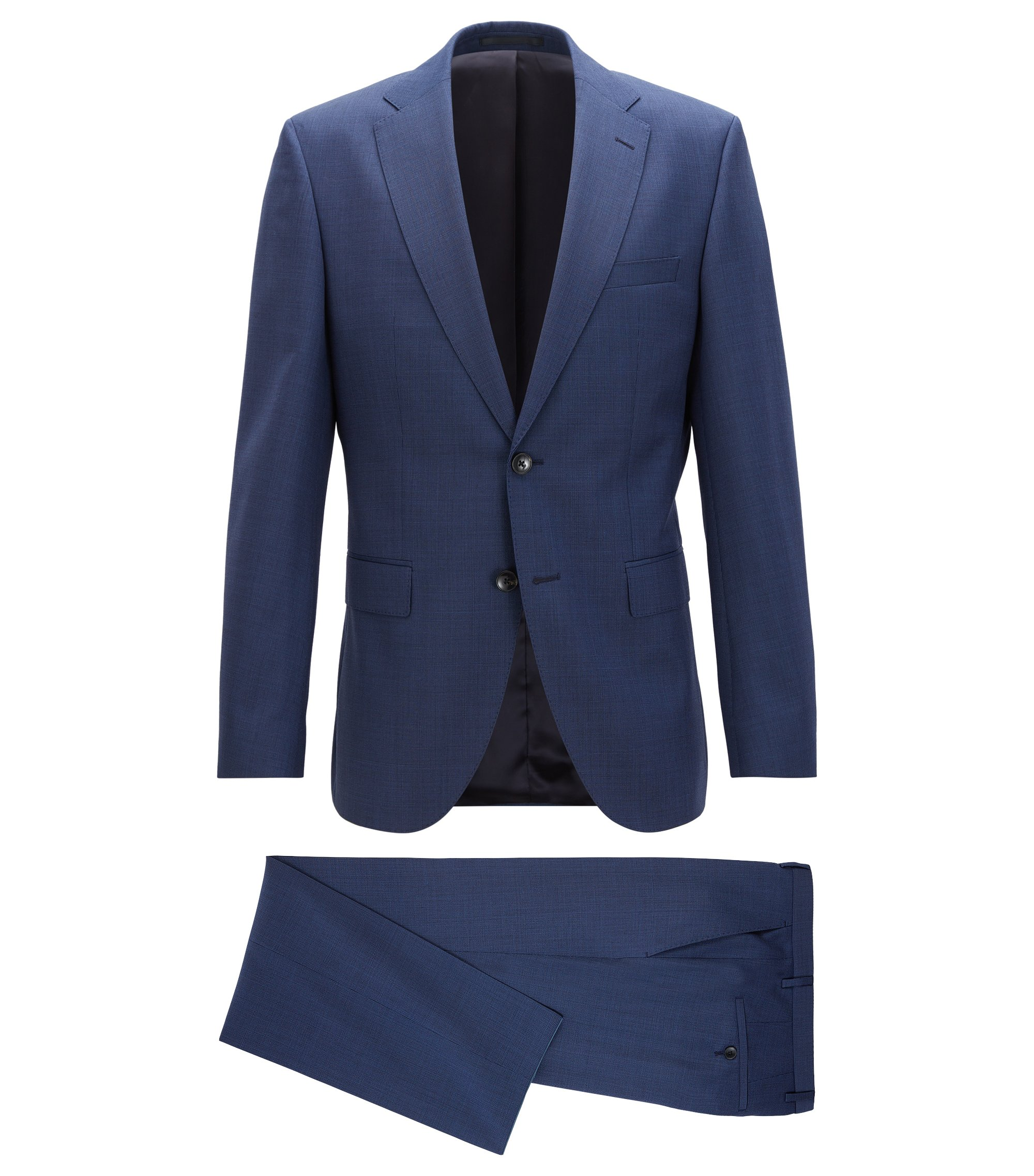 Regular-fit kostuum van scheerwol met microdessin, Donkerblauw