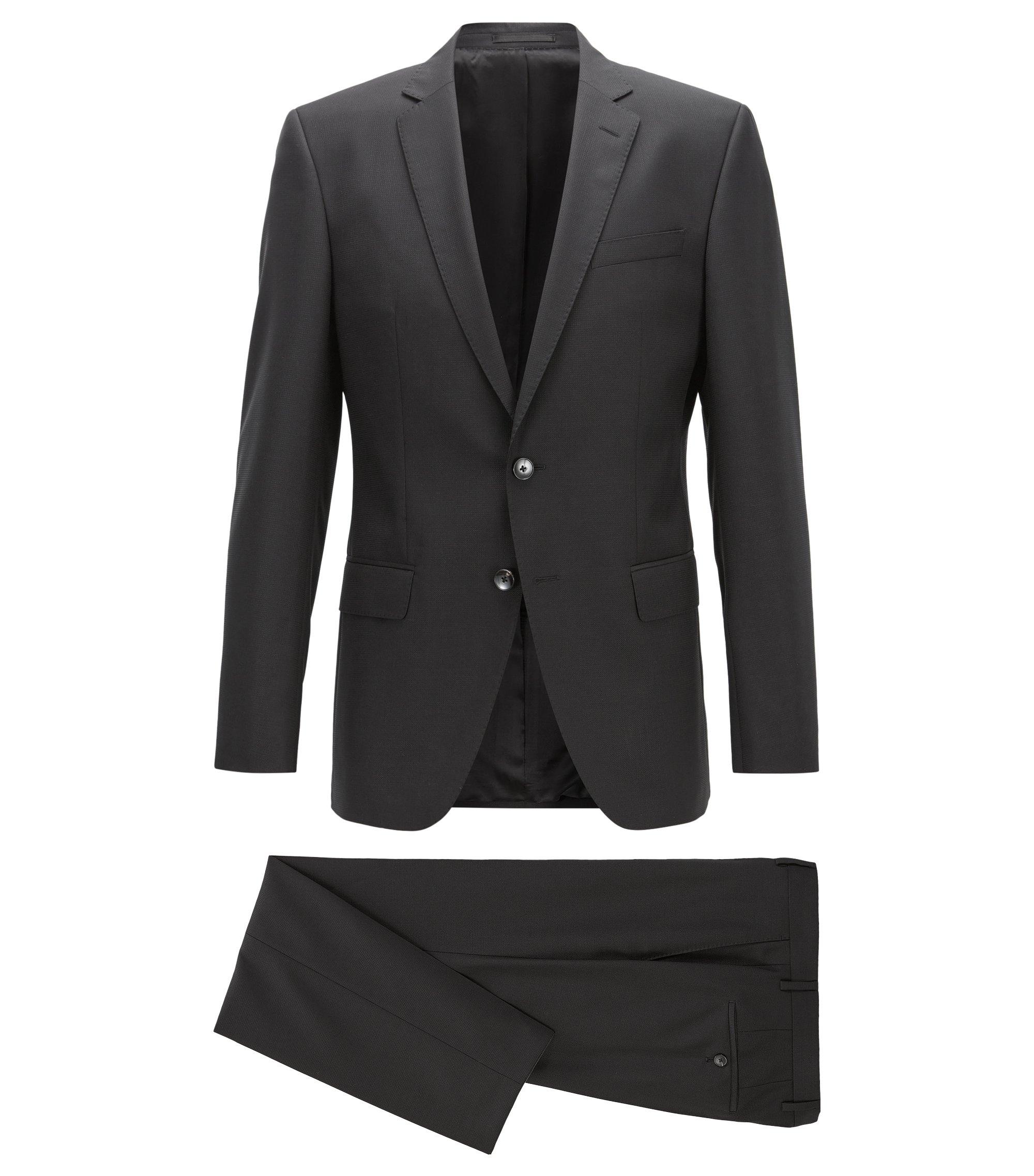 Slim-fit kostuum van scheerwol, Zwart