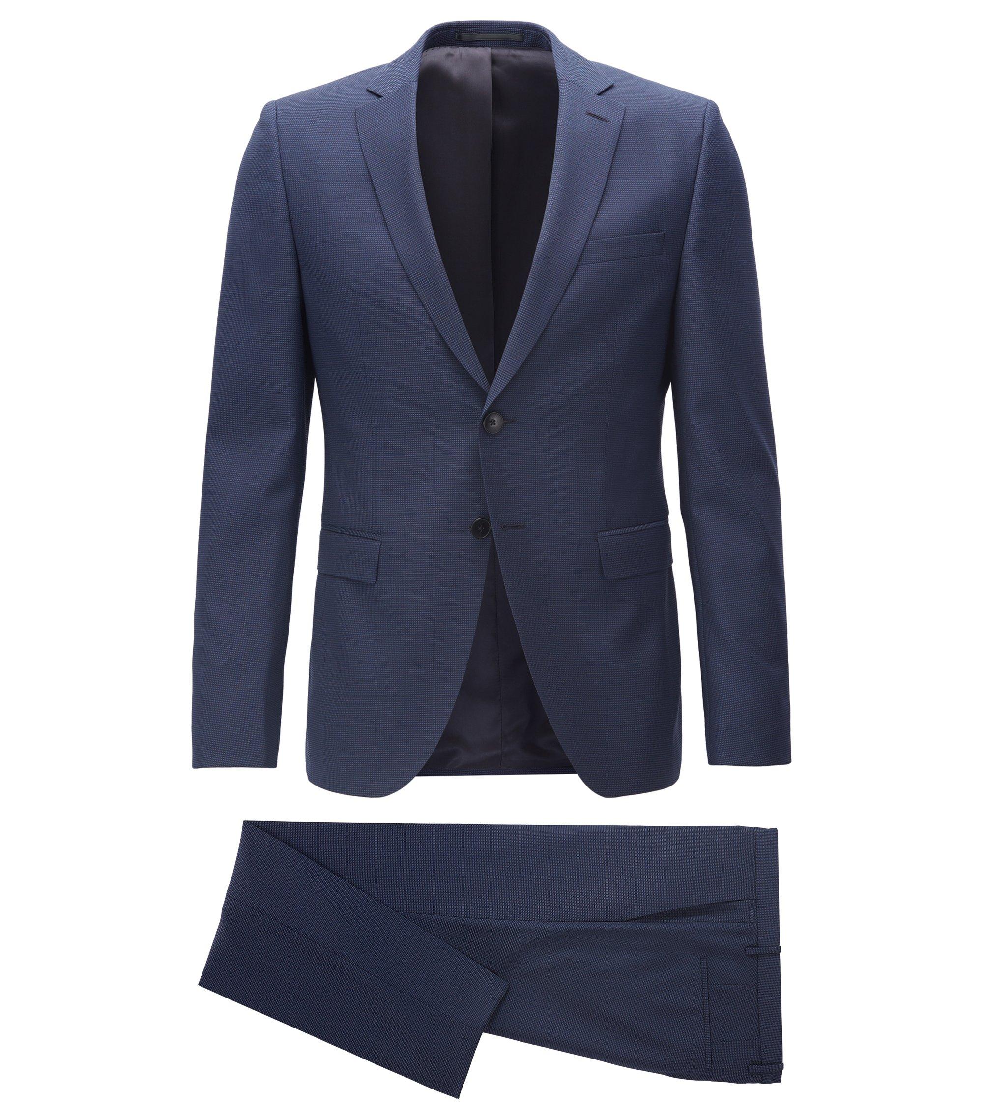 Costume Extra Slim Fit en laine vierge à carreaux unis, Bleu foncé