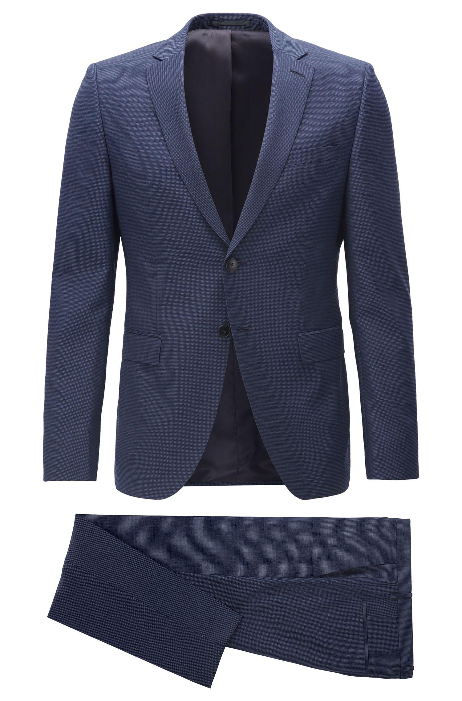 Extra slim-fit kostuum van scheerwol met ruitdessin, Donkerblauw