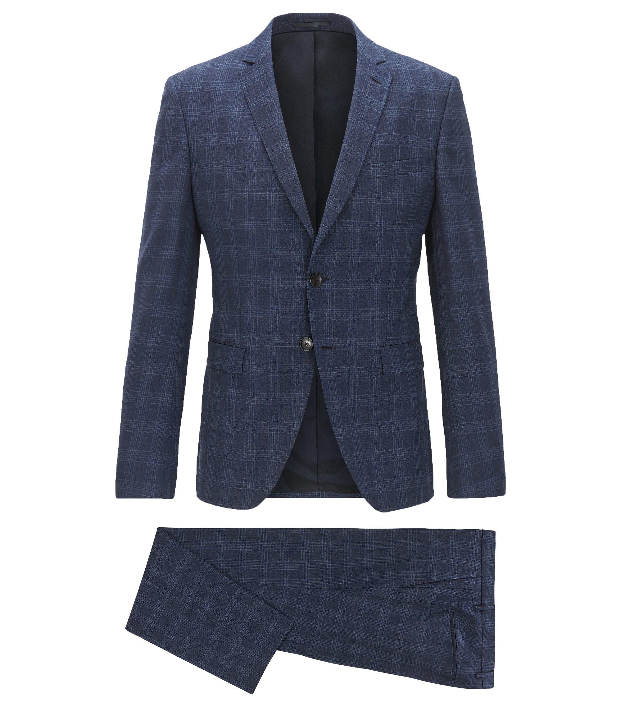 Costume Extra Slim Fit à carreaux unis, en laine vierge, Bleu foncé