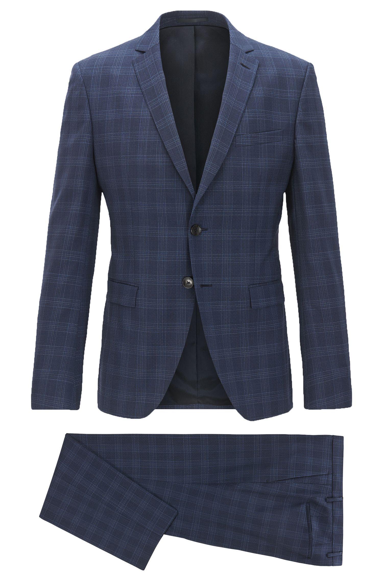 Extra Slim-Fit Anzug aus reiner Schurwolle mit unifarbenem Karo-Muster