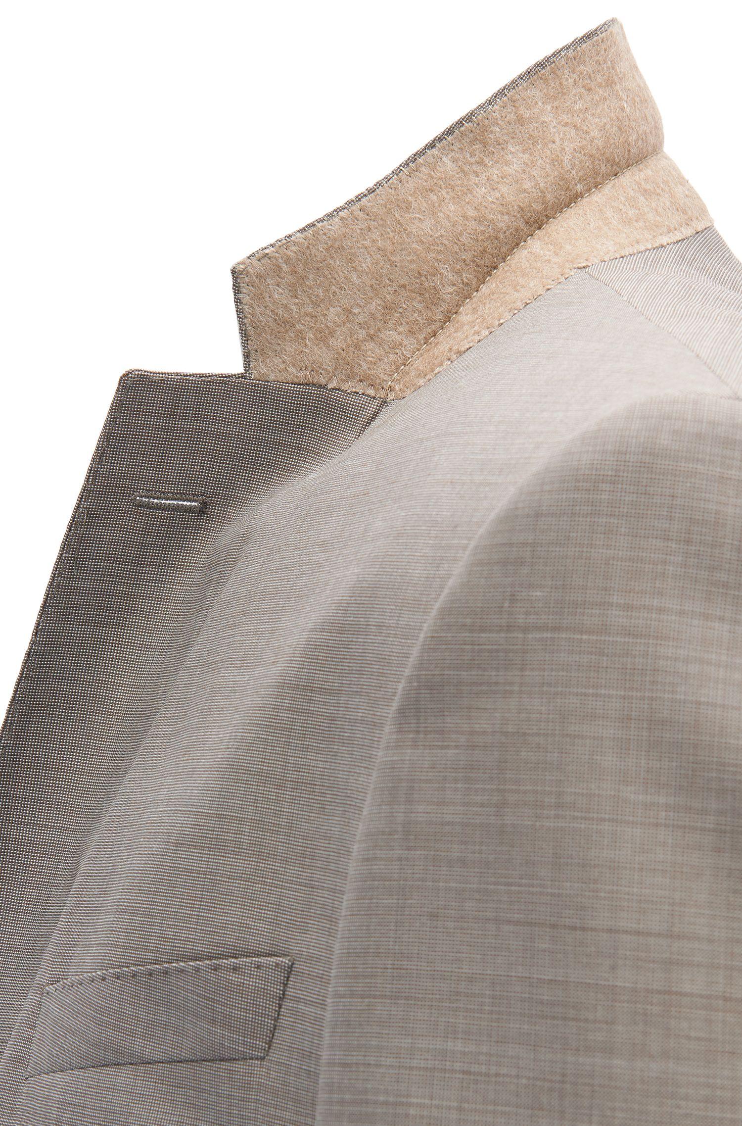 Driedelig slim-fit kostuum van wol met microdessin