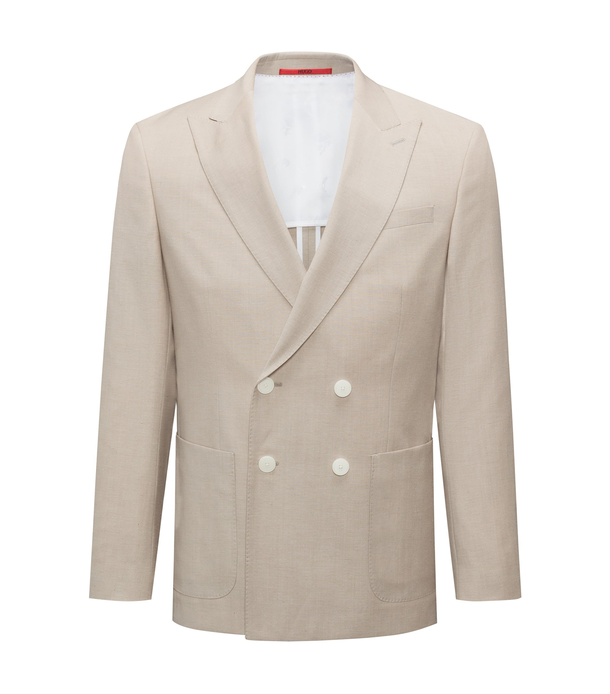 Slim-fit double-breasted jacket in a structured wool blend, Beige
