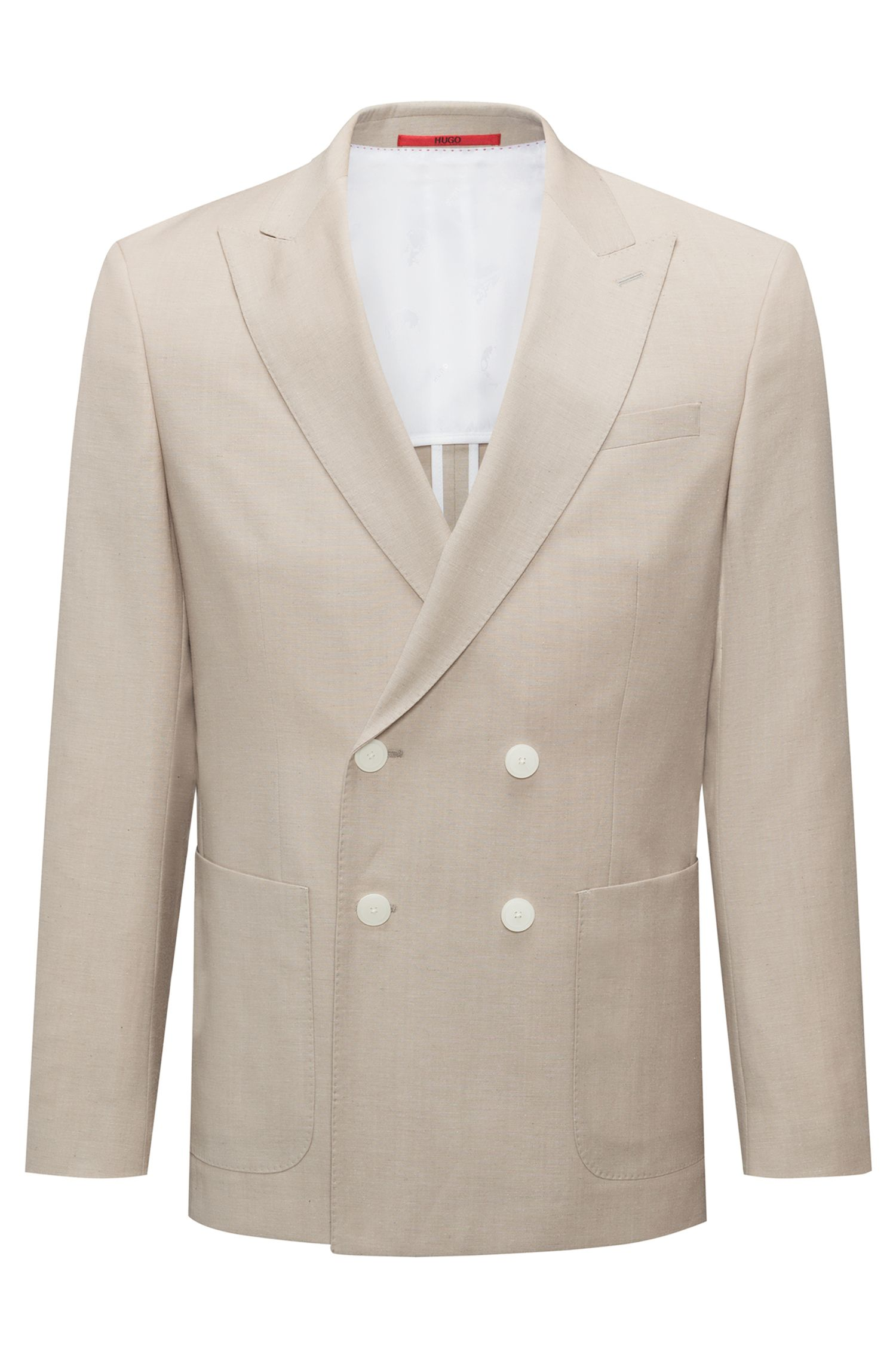Slim-fit double-breasted jacket in a structured wool blend