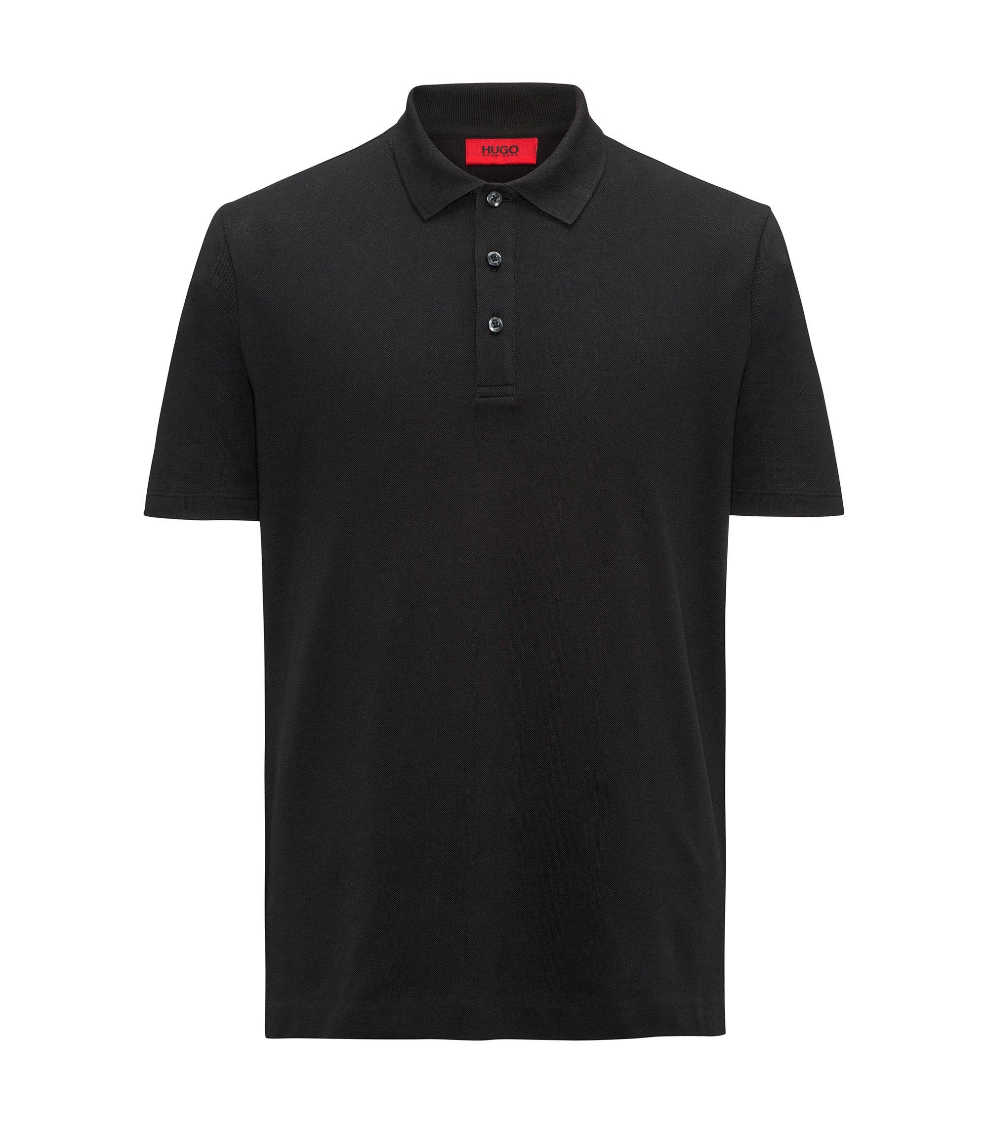 Polo in katoenpiqué met verlaagde achterzoom en logoprint, Zwart