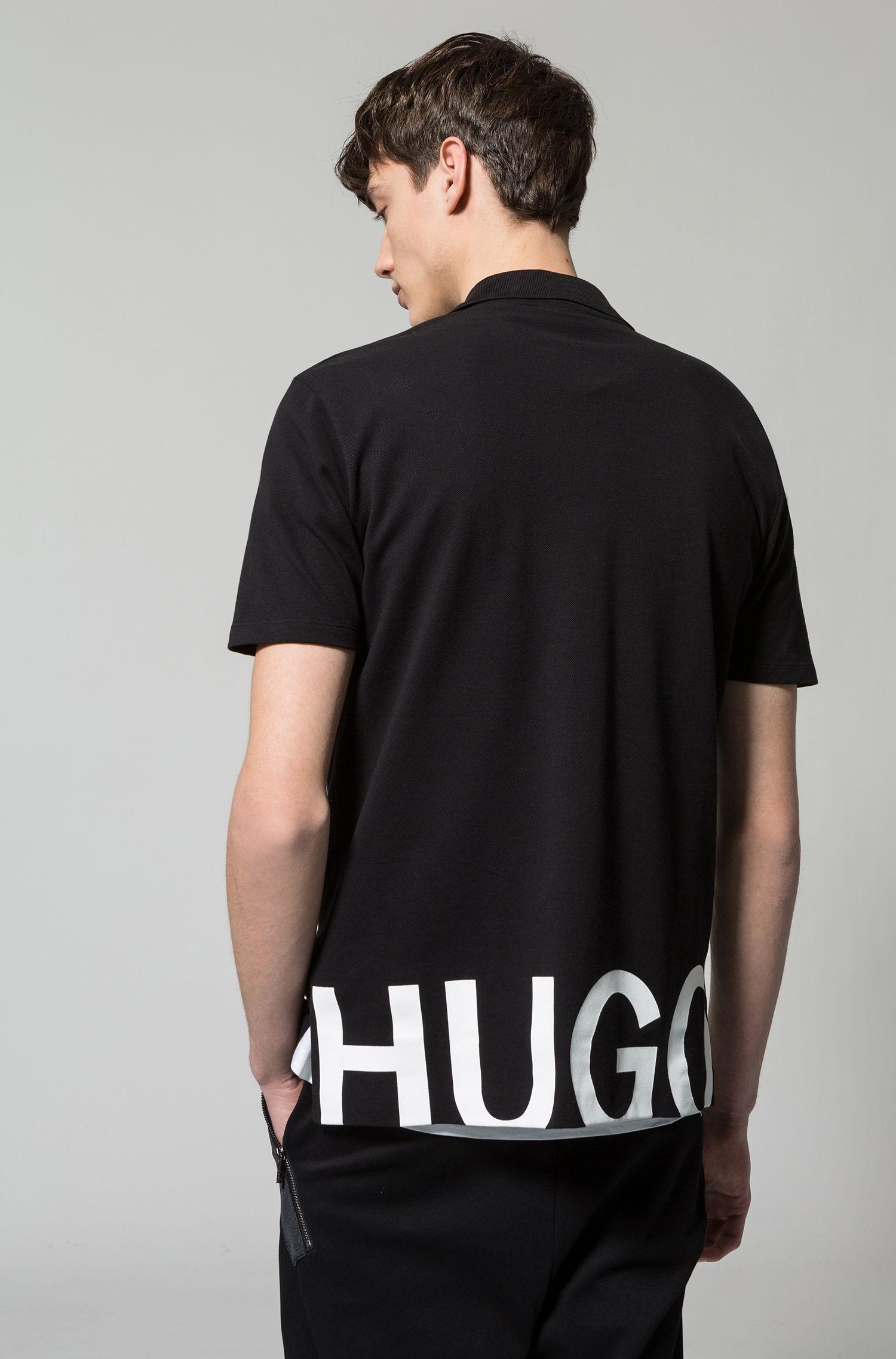 Poloshirt aus Baumwoll-Piqué mit Logo-Print hinten am Saum