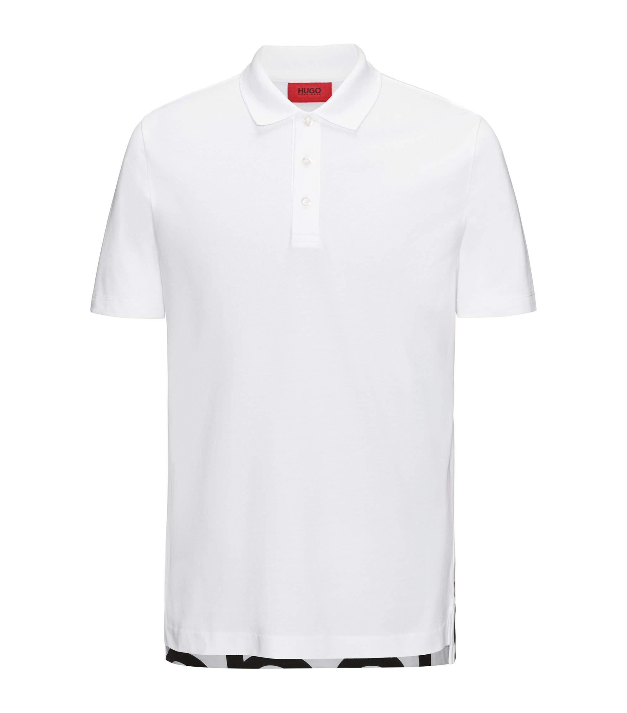 Logo-print dropped-hem polo shirt in cotton pique, White