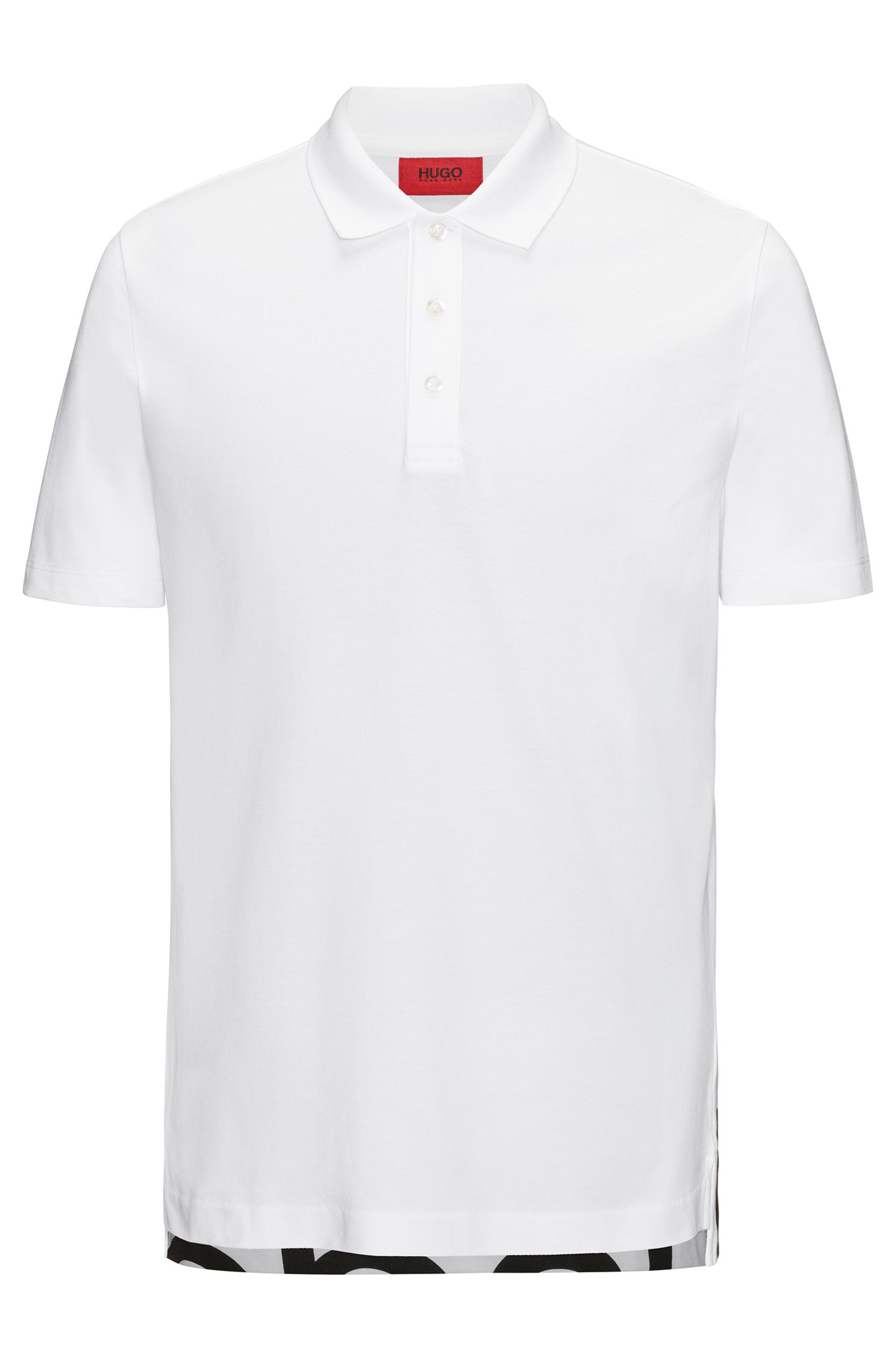 Logo-print dropped-hem polo shirt in cotton pique