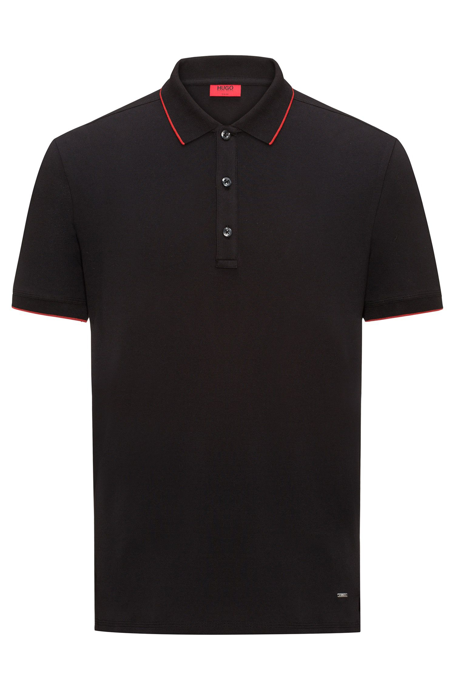 Slim-fit pique polo shirt with contrast tipping, Zwart