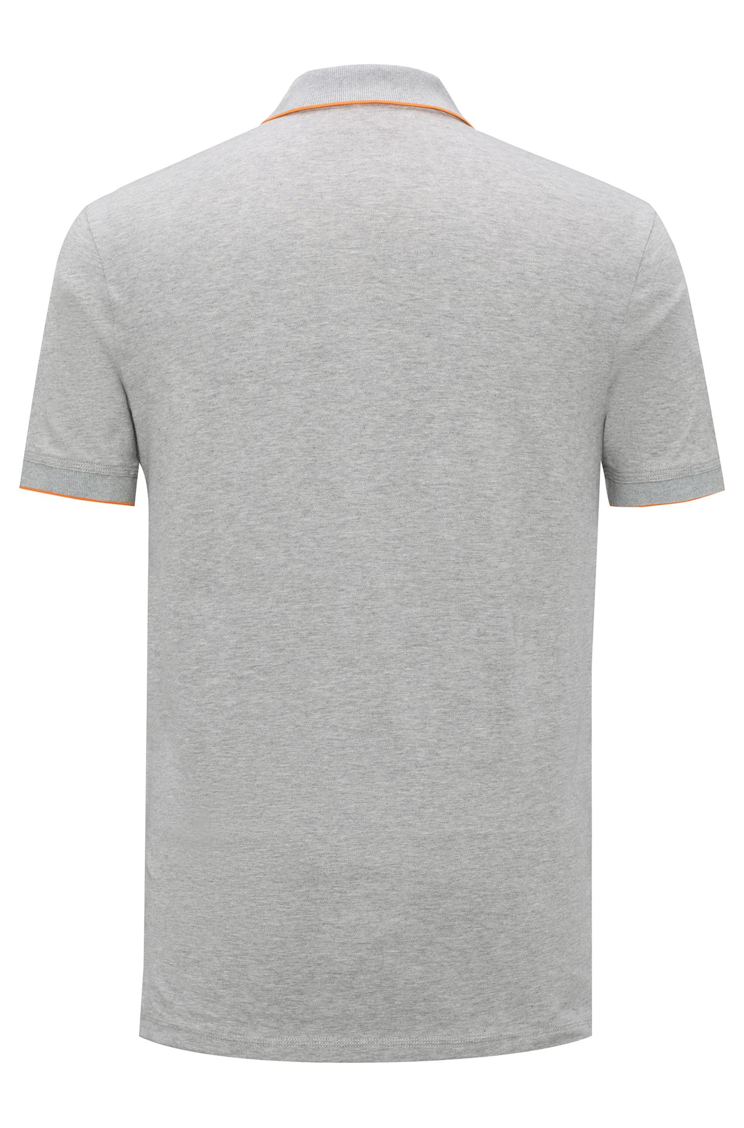 Slim-fit pique polo shirt with contrast tipping, Gris