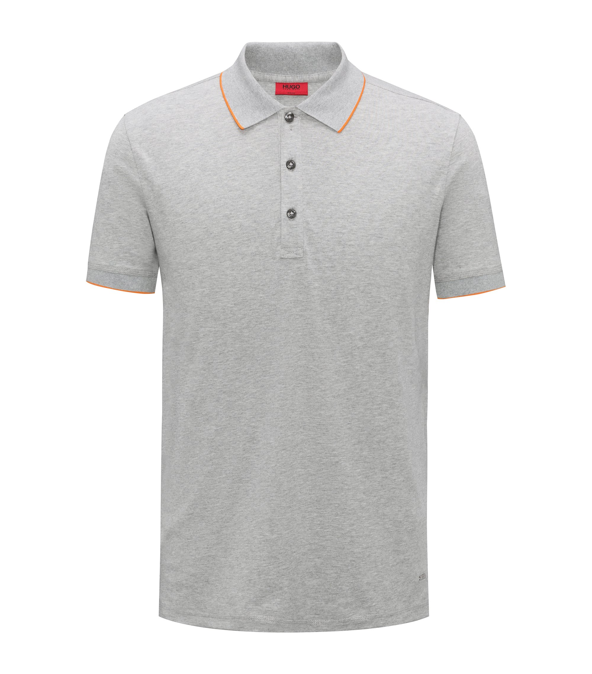 Slim-fit pique polo shirt with contrast tipping, Grey