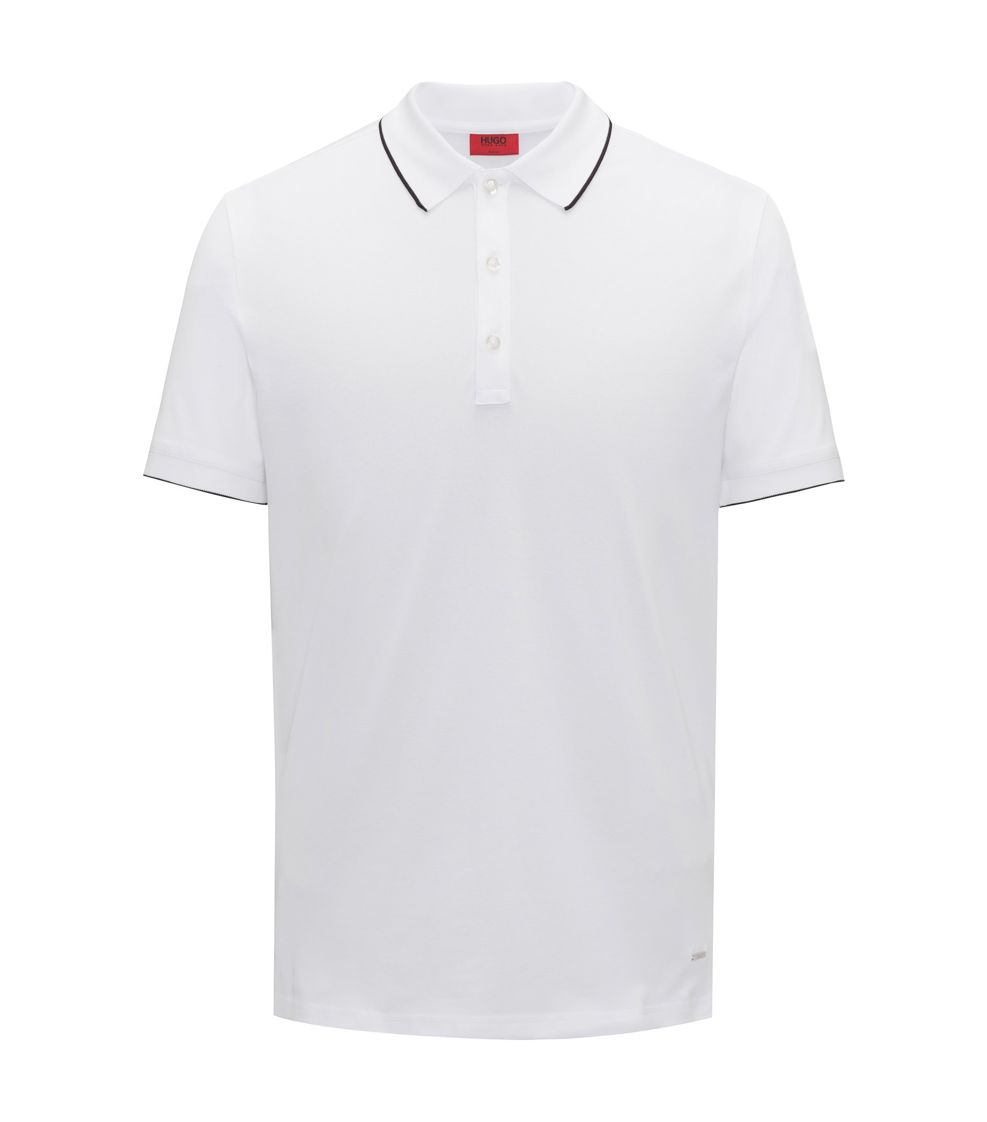 Slim-fit pique polo shirt with contrast tipping, Wit