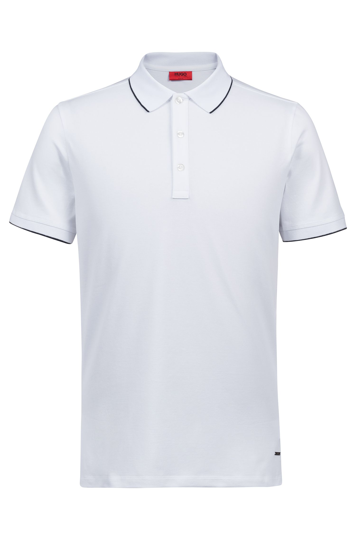 Slim-fit pique polo shirt with contrast tipping | Tuggl