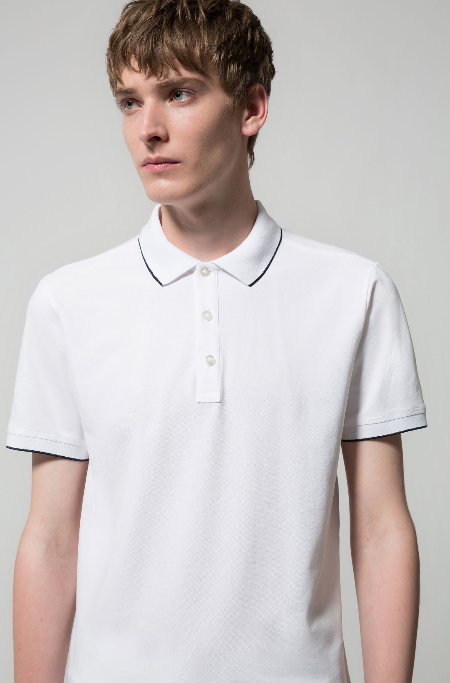 Slim-fit pique polo shirt with contrast tipping, White