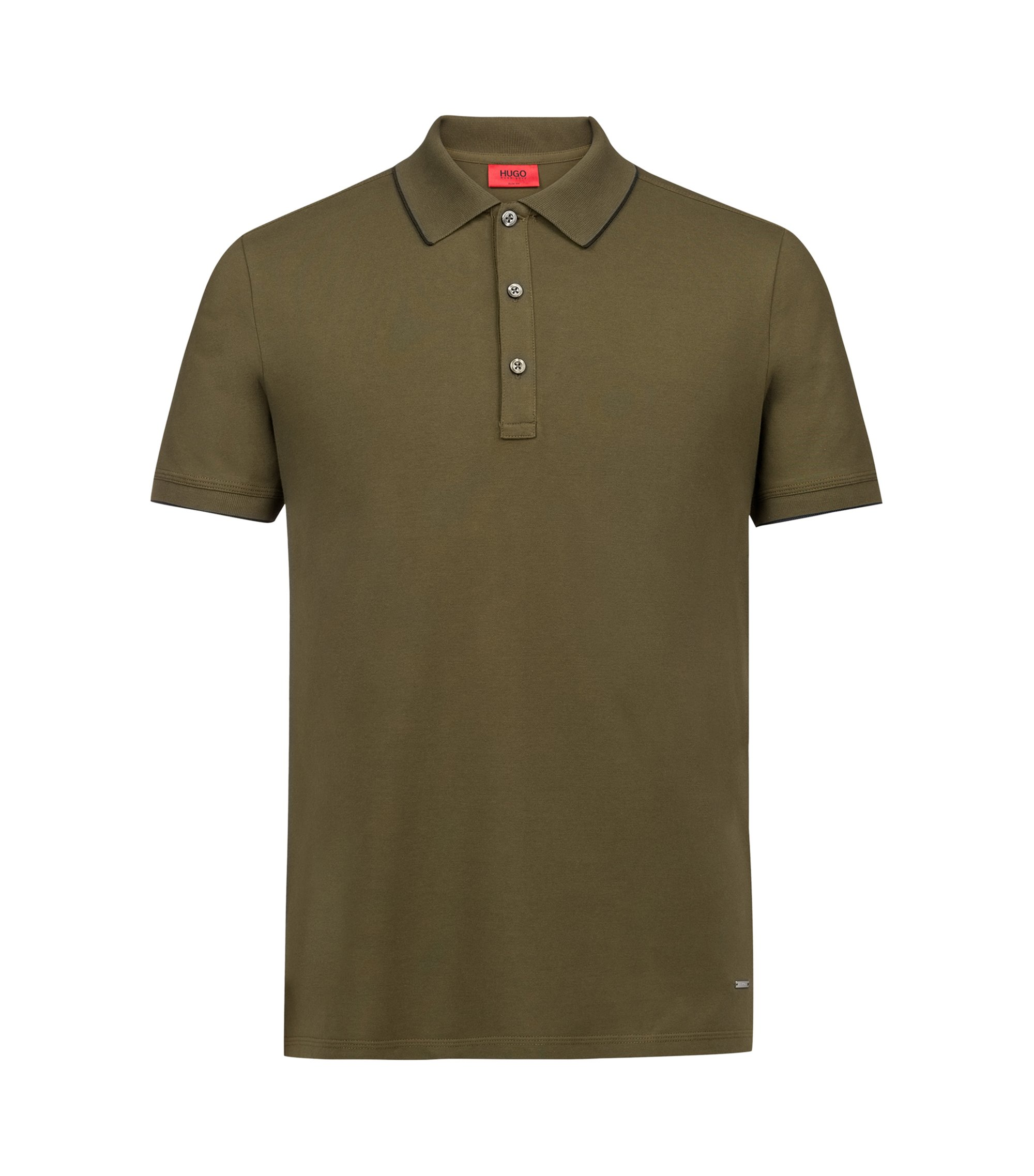 Slim-fit pique polo shirt with contrast tipping, Dark Green