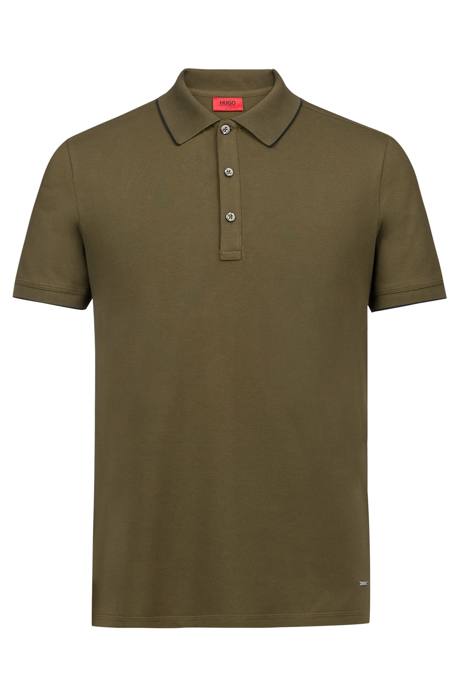Slim-fit pique polo shirt with contrast tipping, Donkergroen