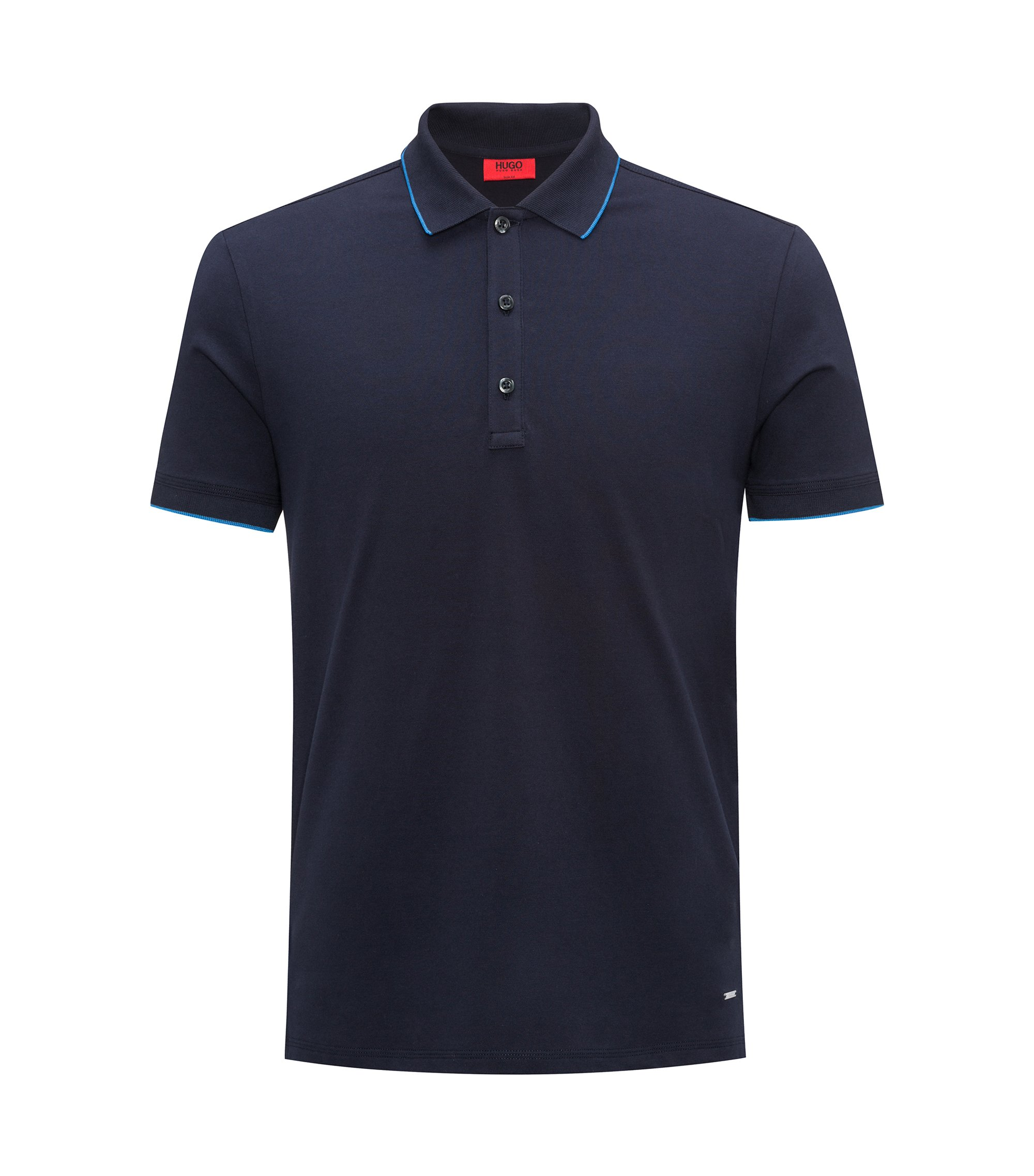 Slim-fit pique polo shirt with contrast tipping, Blu scuro