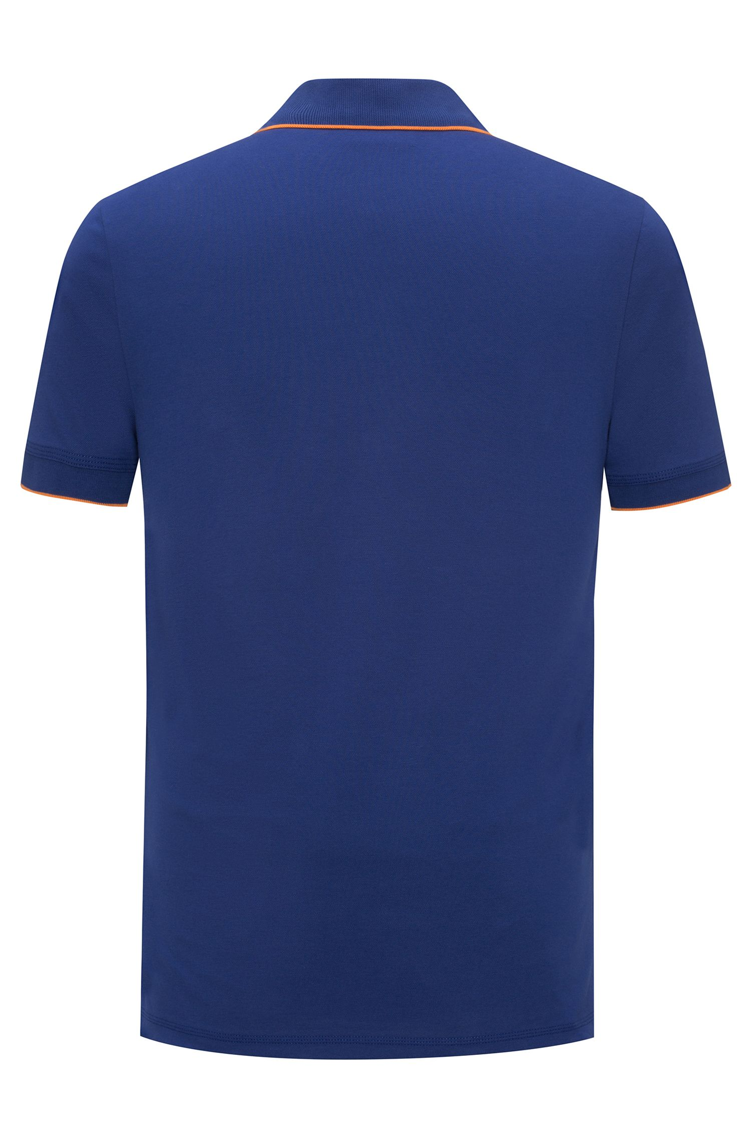 Slim-fit pique polo shirt with contrast tipping, Bleu foncé