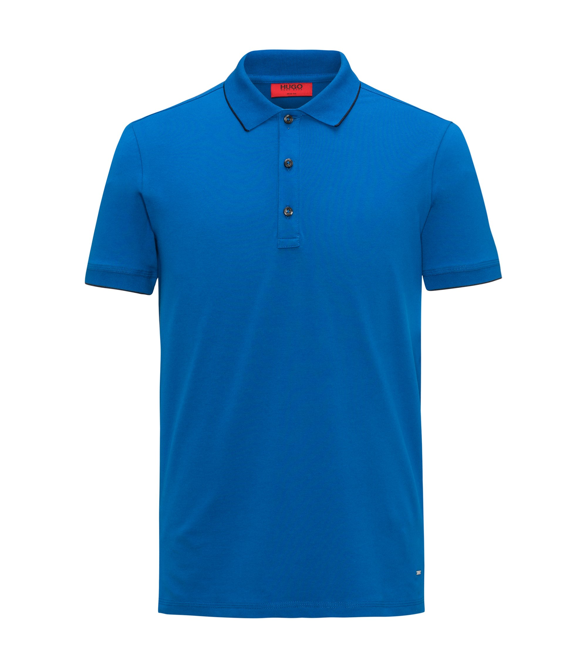 Slim-fit pique polo shirt with contrast tipping, Bleu