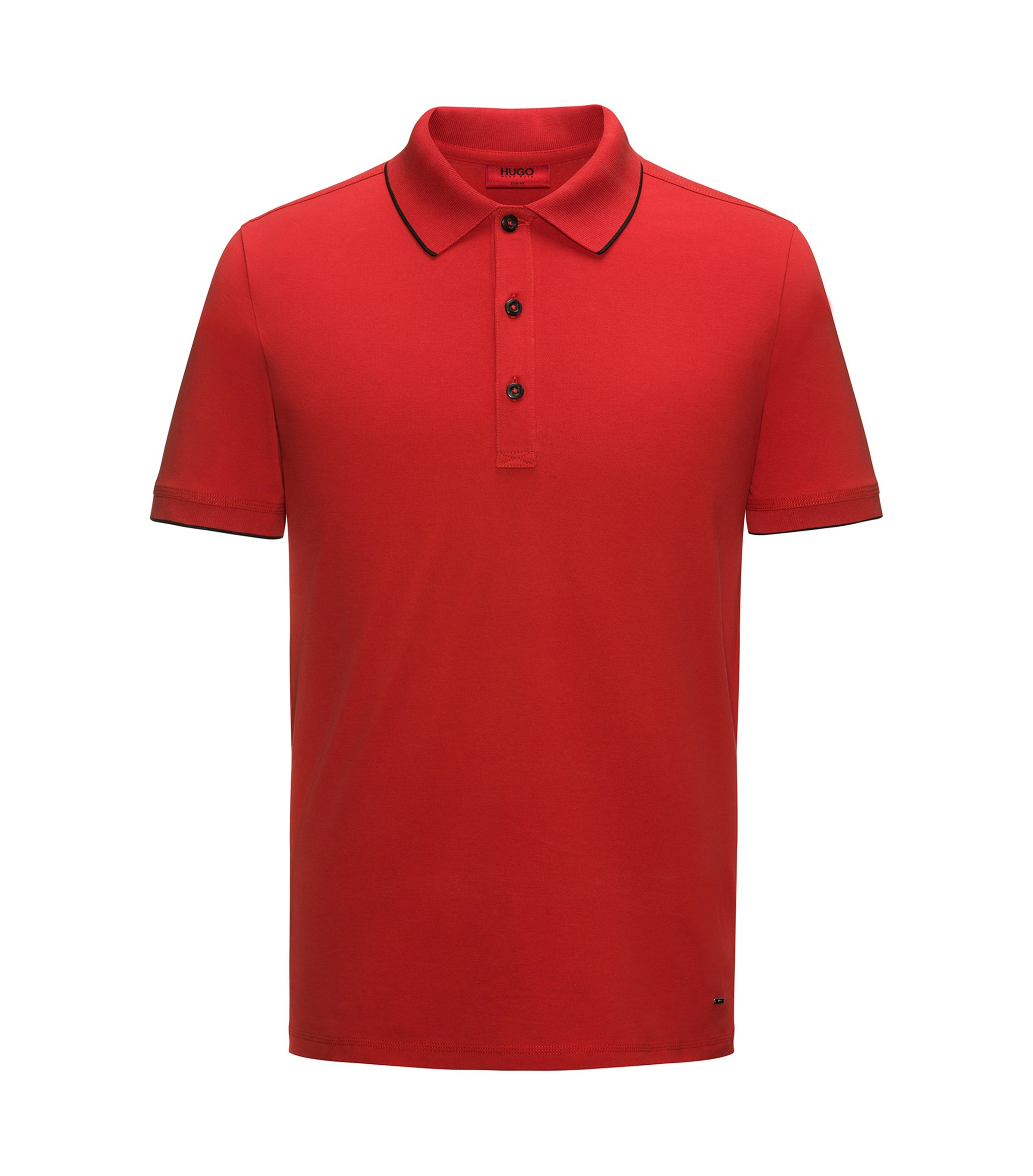 Slim-fit pique polo shirt with contrast tipping, Rouge