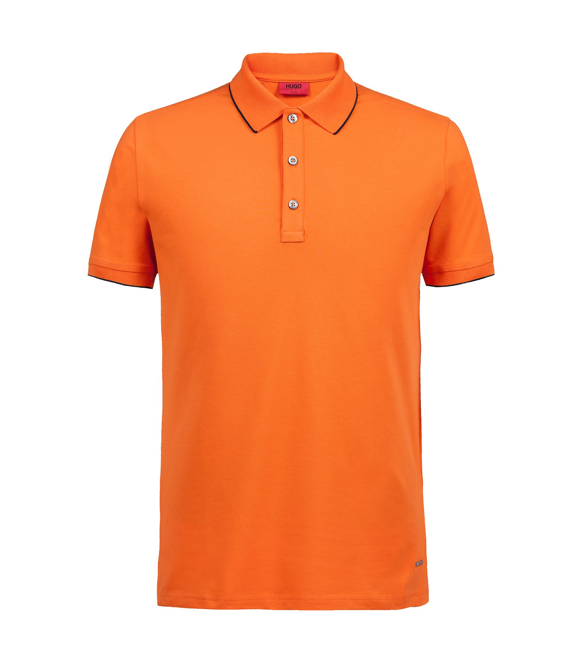 Slim-fit pique polo shirt with contrast tipping, Orange