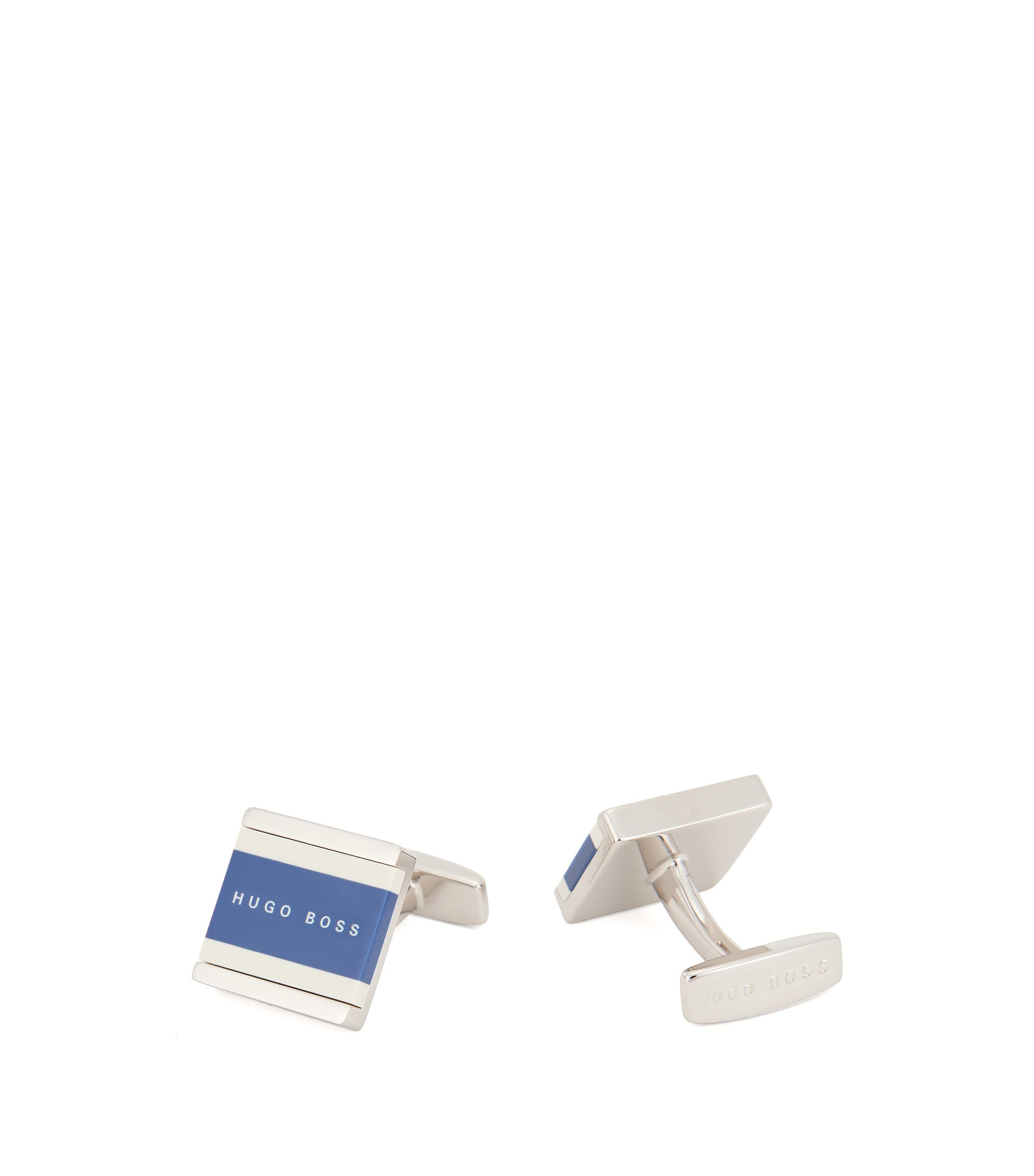 Square cufflinks with two-colour enamel core, Blue