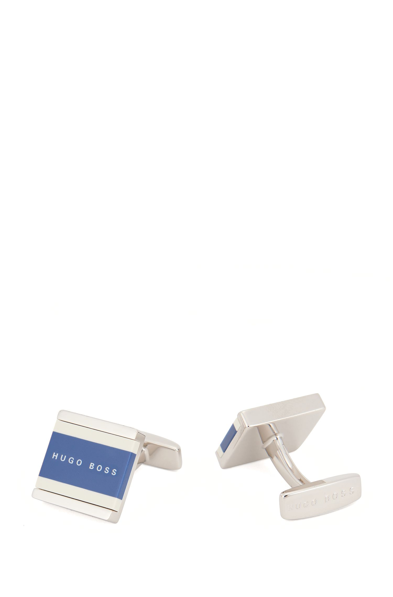 Square cufflinks with two-colour enamel core