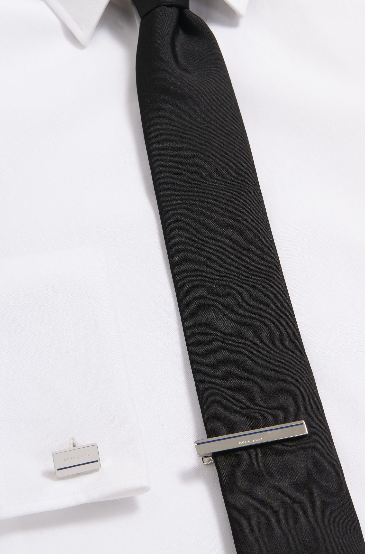 Hand-polished tie clip with coloured enamel