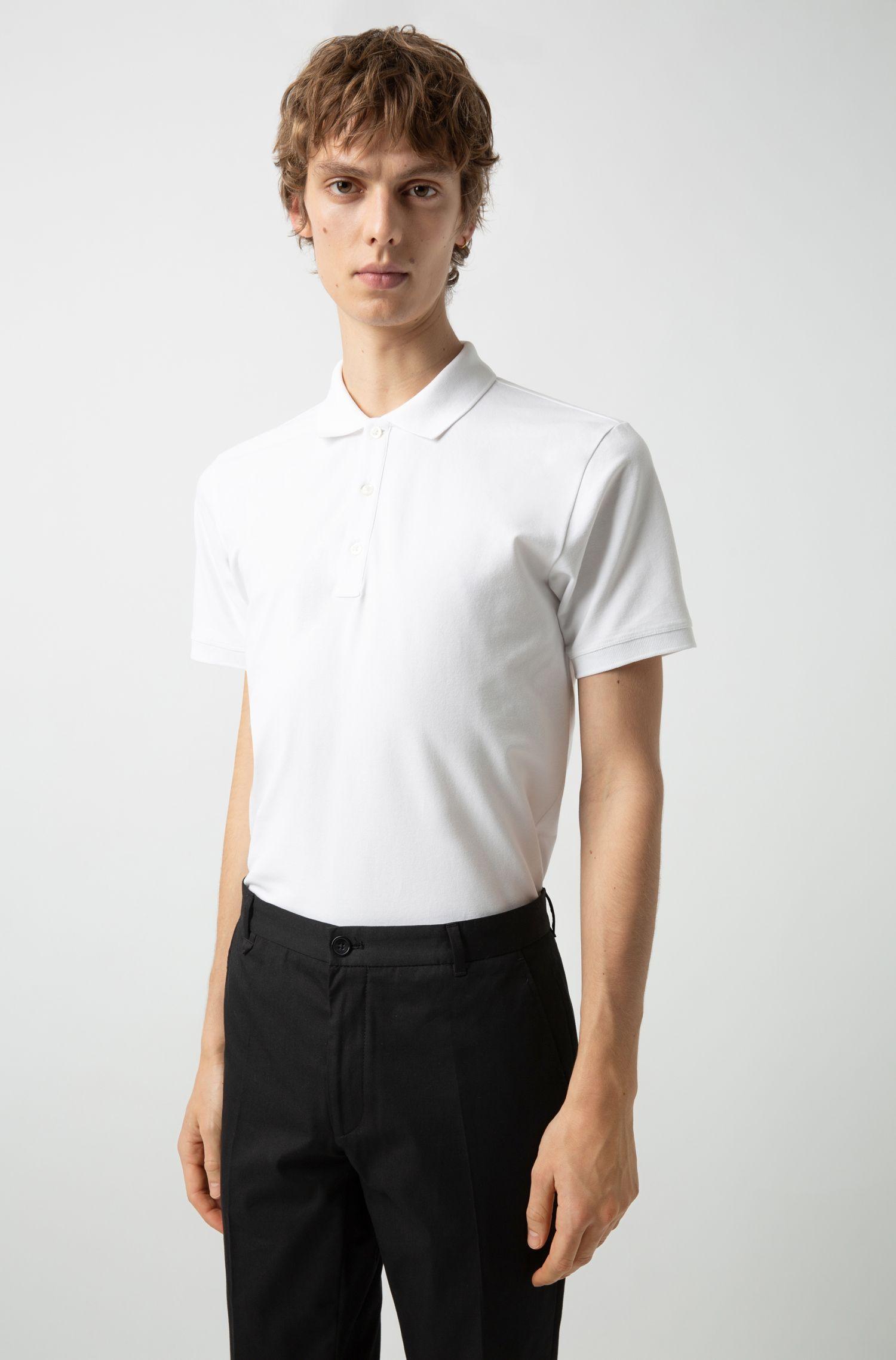 Slim-Fit Poloshirt aus Stretch-Baumwolle, Weiß
