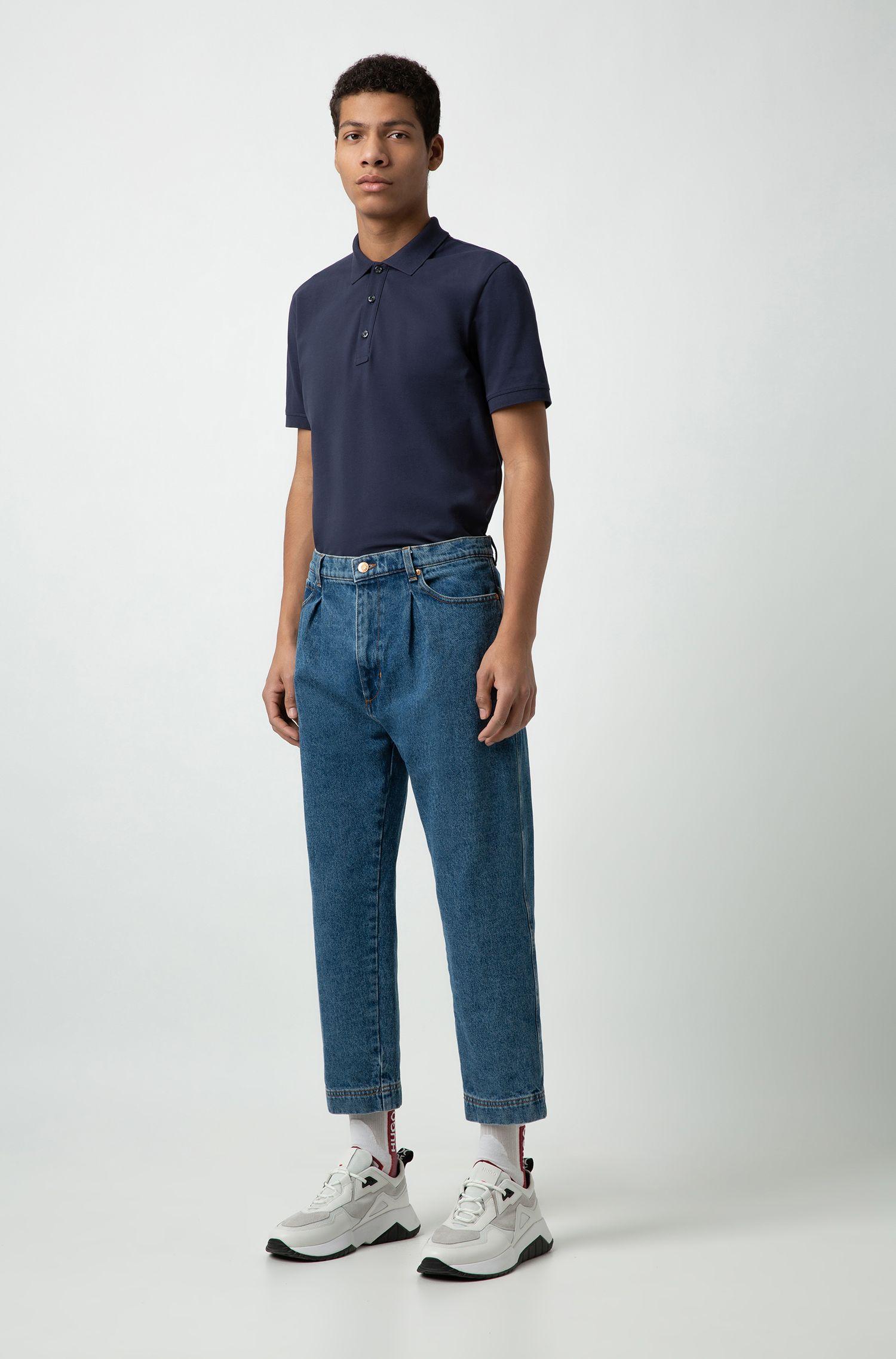 Polo Slim Fit en maille piquée, Bleu foncé