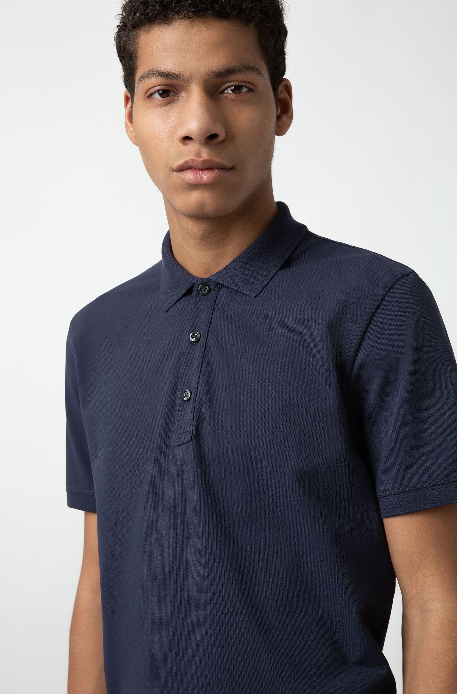 Slim-Fit Poloshirt aus Stretch-Baumwolle, Dunkelblau