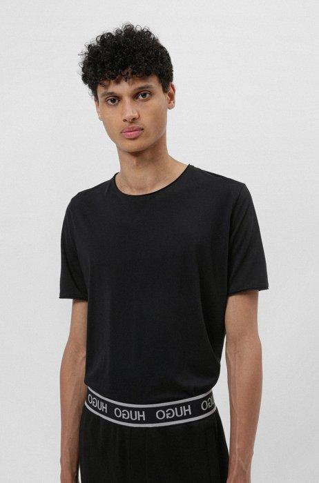Regular-fit T-shirt with raw-cut edges, Black