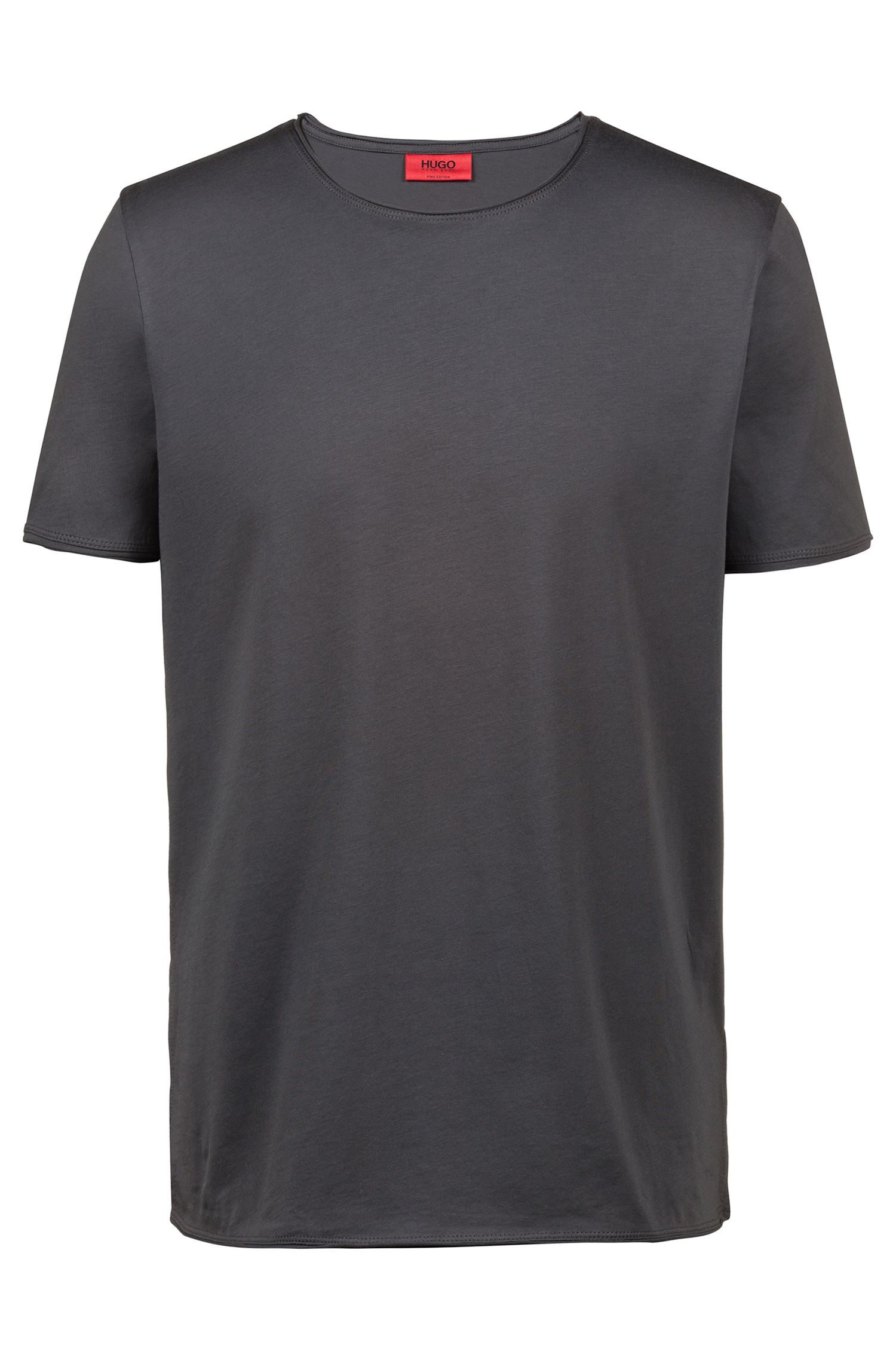 T-shirt regular fit in cotone Pima, Grigio scuro