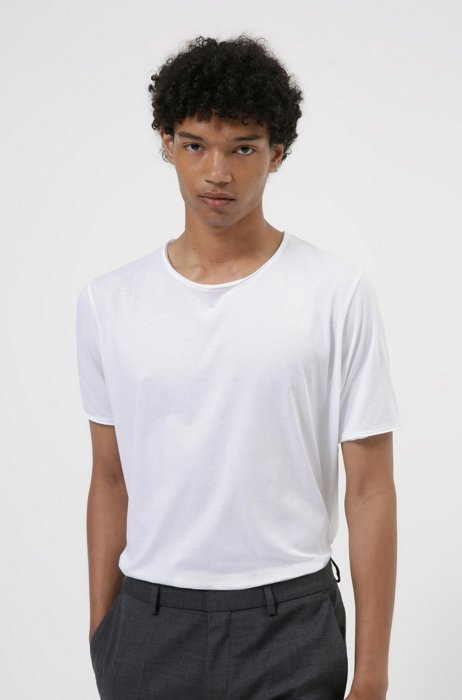 Regular-fit T-shirt with raw-cut edges, White