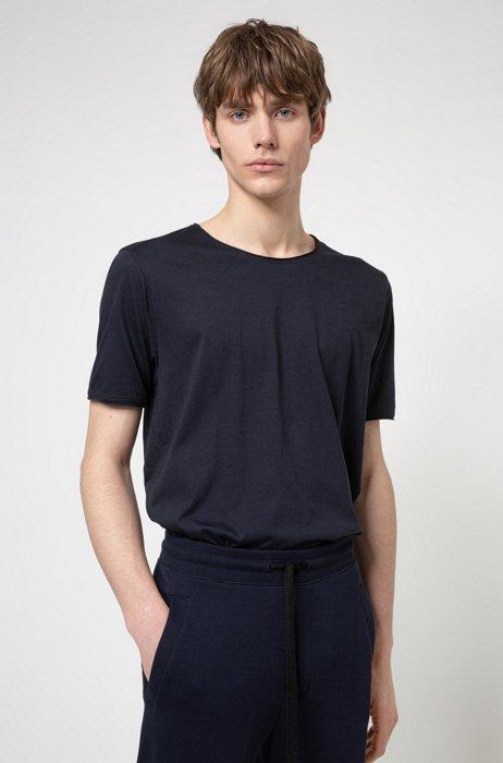 Regular-fit T-shirt with raw-cut edges, Dark Blue