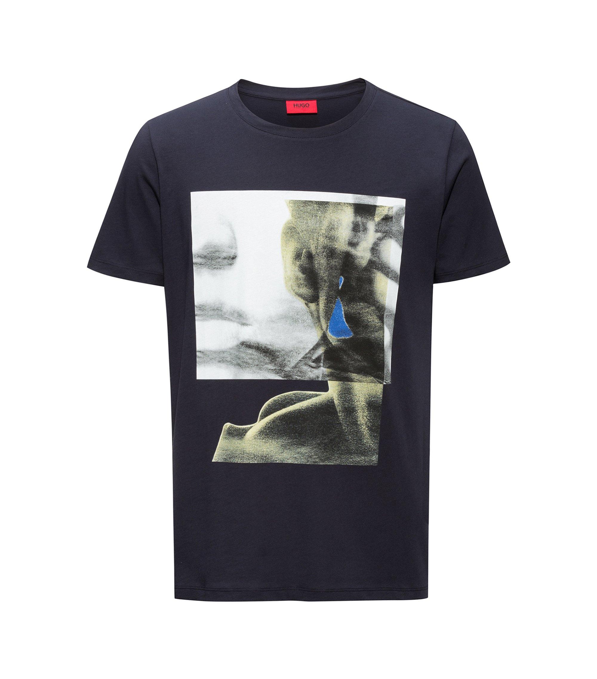 Camiseta estampada de puro algodón, Azul oscuro