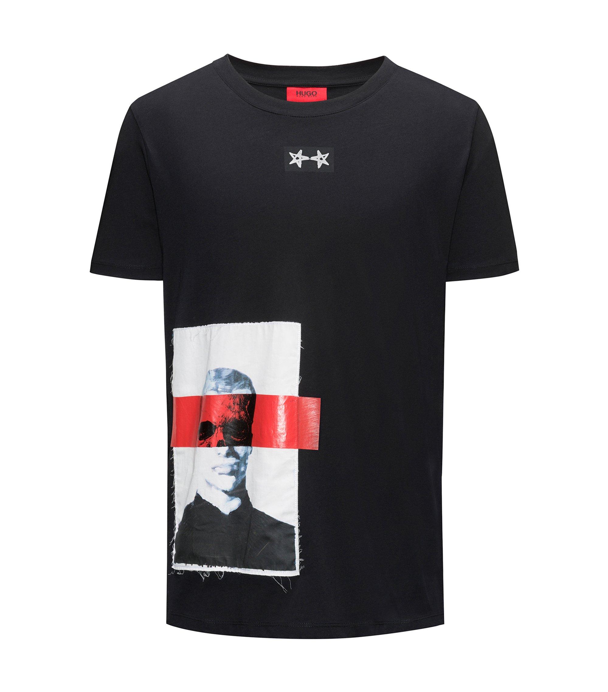 Camiseta de punto de algodón con estampado de arte callejero, Negro