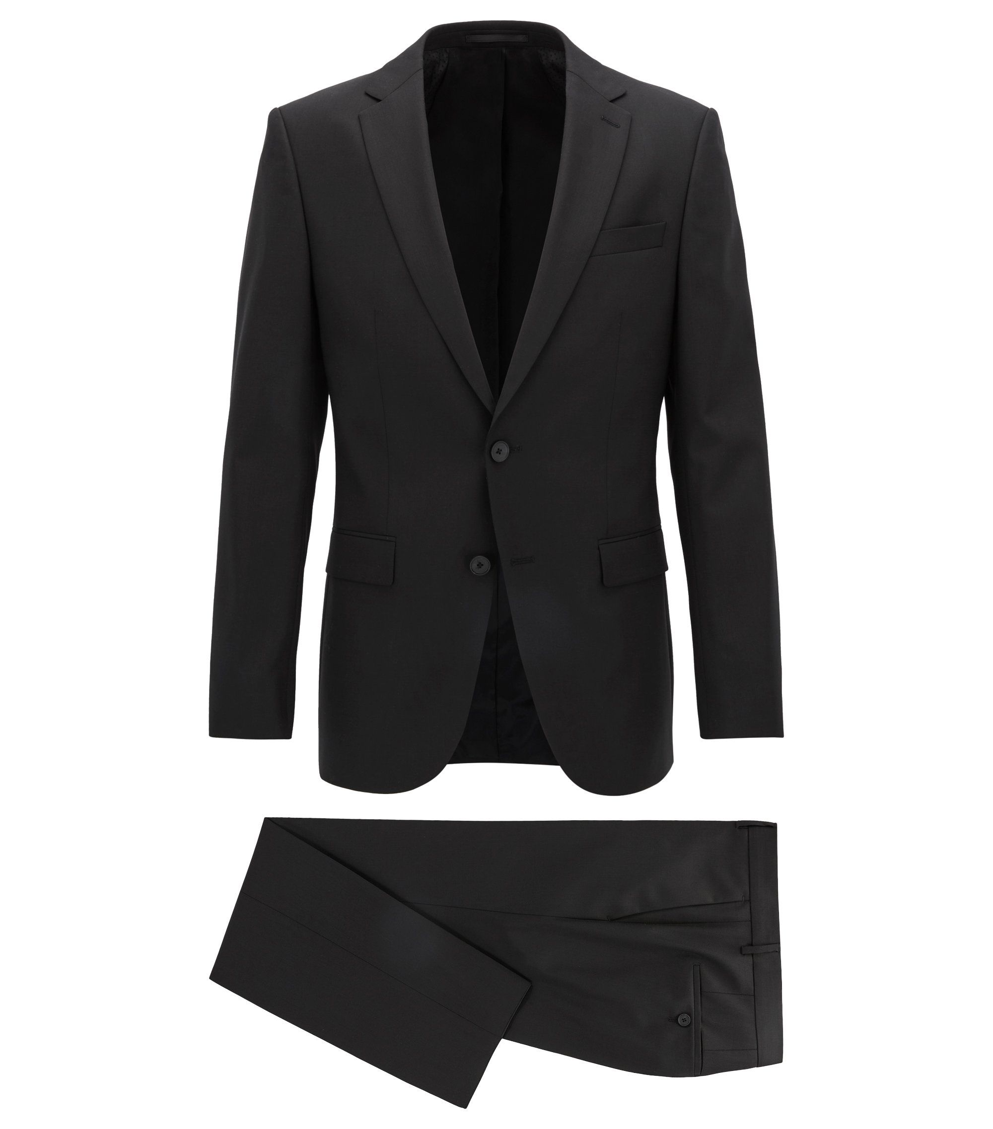 Slim-fit suit in a virgin wool-rich blend, Black