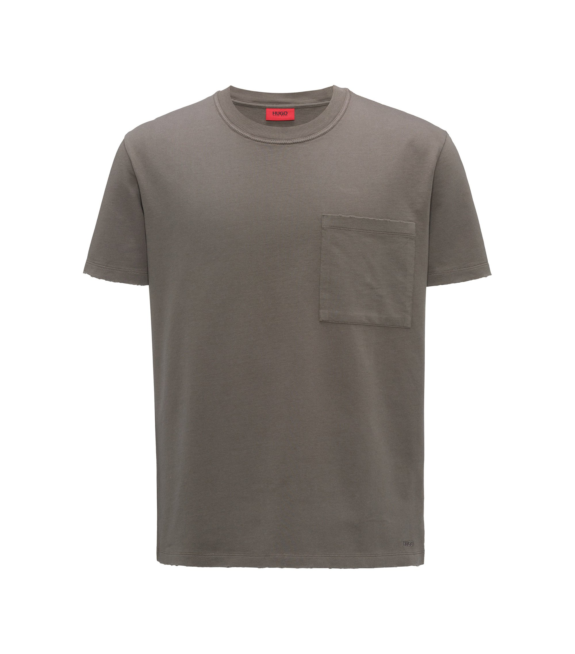 T-shirt oversize a girocollo in french terry, Marrone