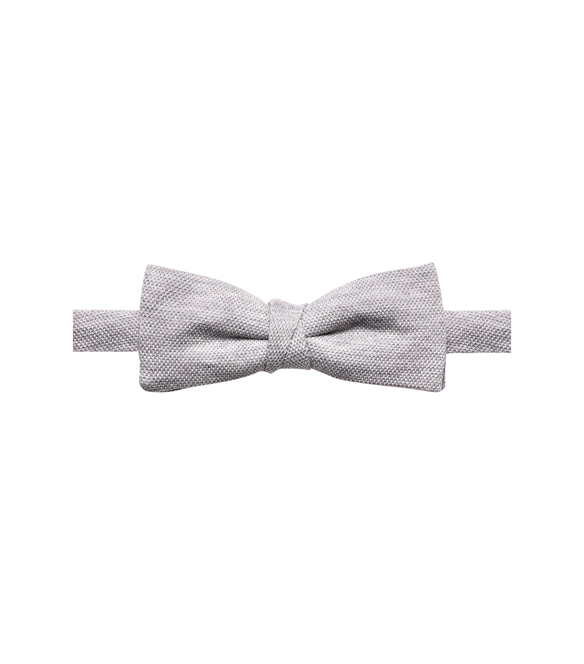 Textured bow tie in cotton piqué, Grey