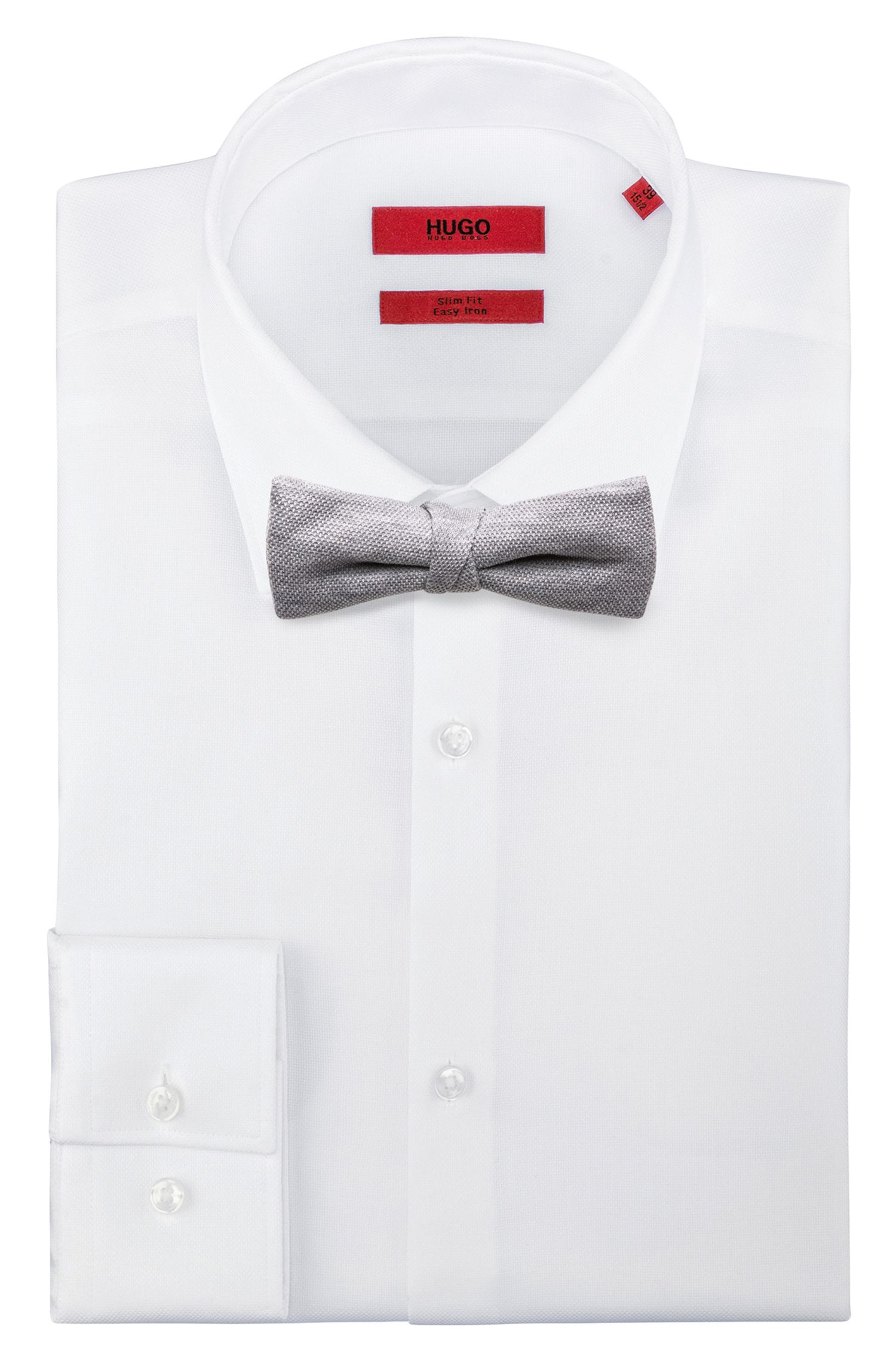 Textured bow tie in cotton piqué