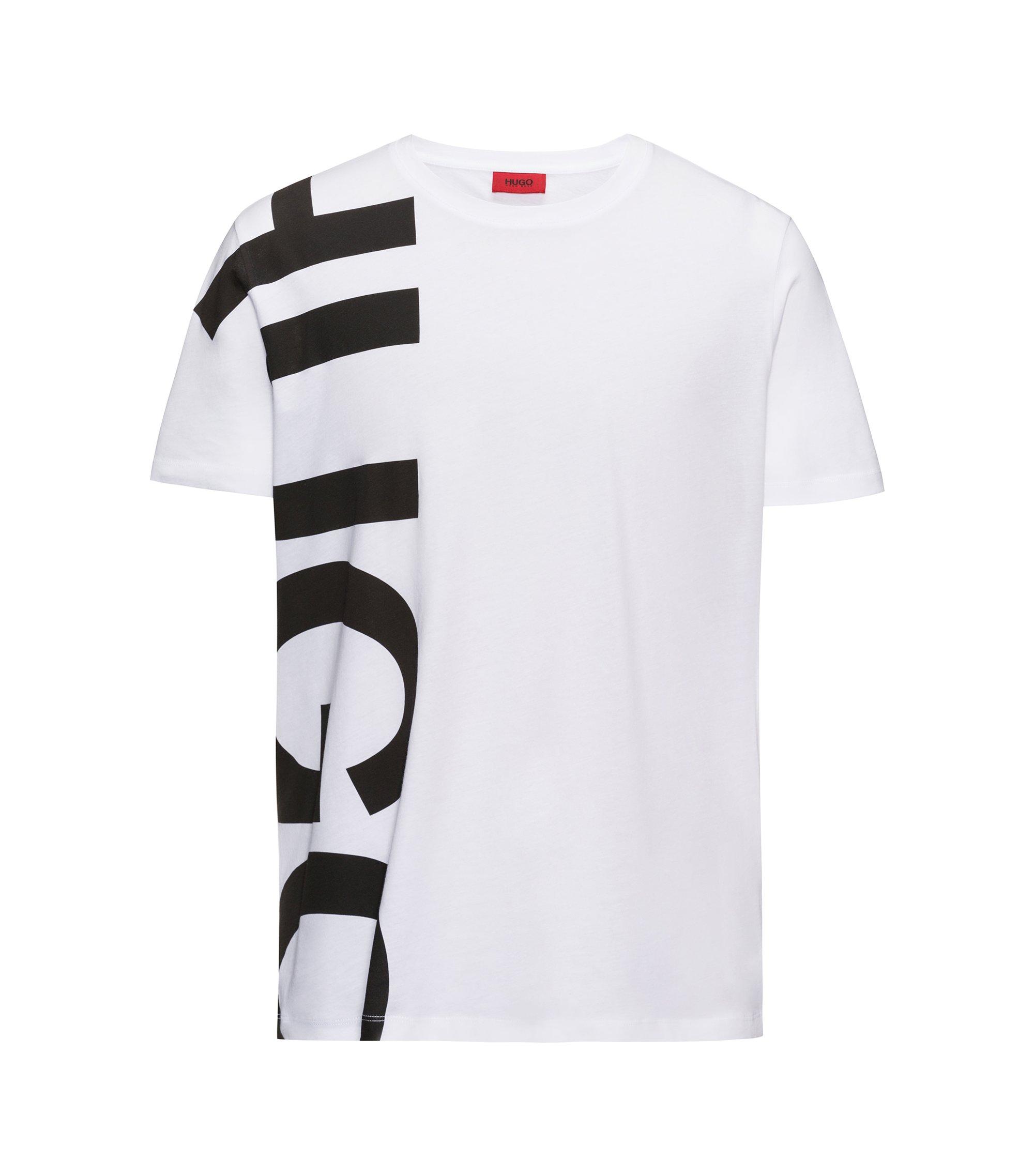 Camiseta con logo extragrande en punto de algodón, Blanco