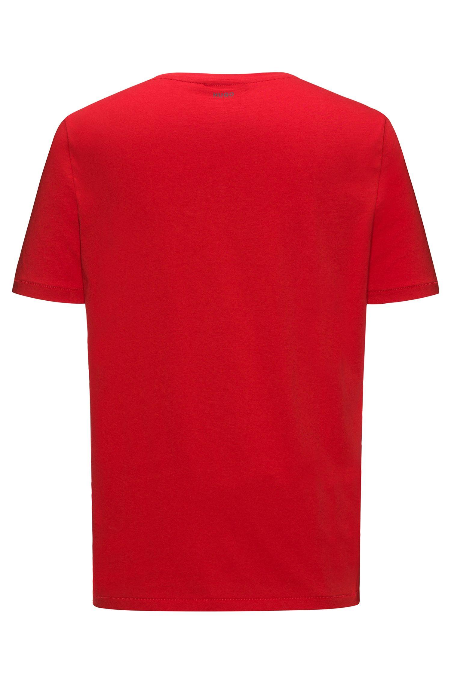 T-shirt in cotone con stampa gommata con epigramma