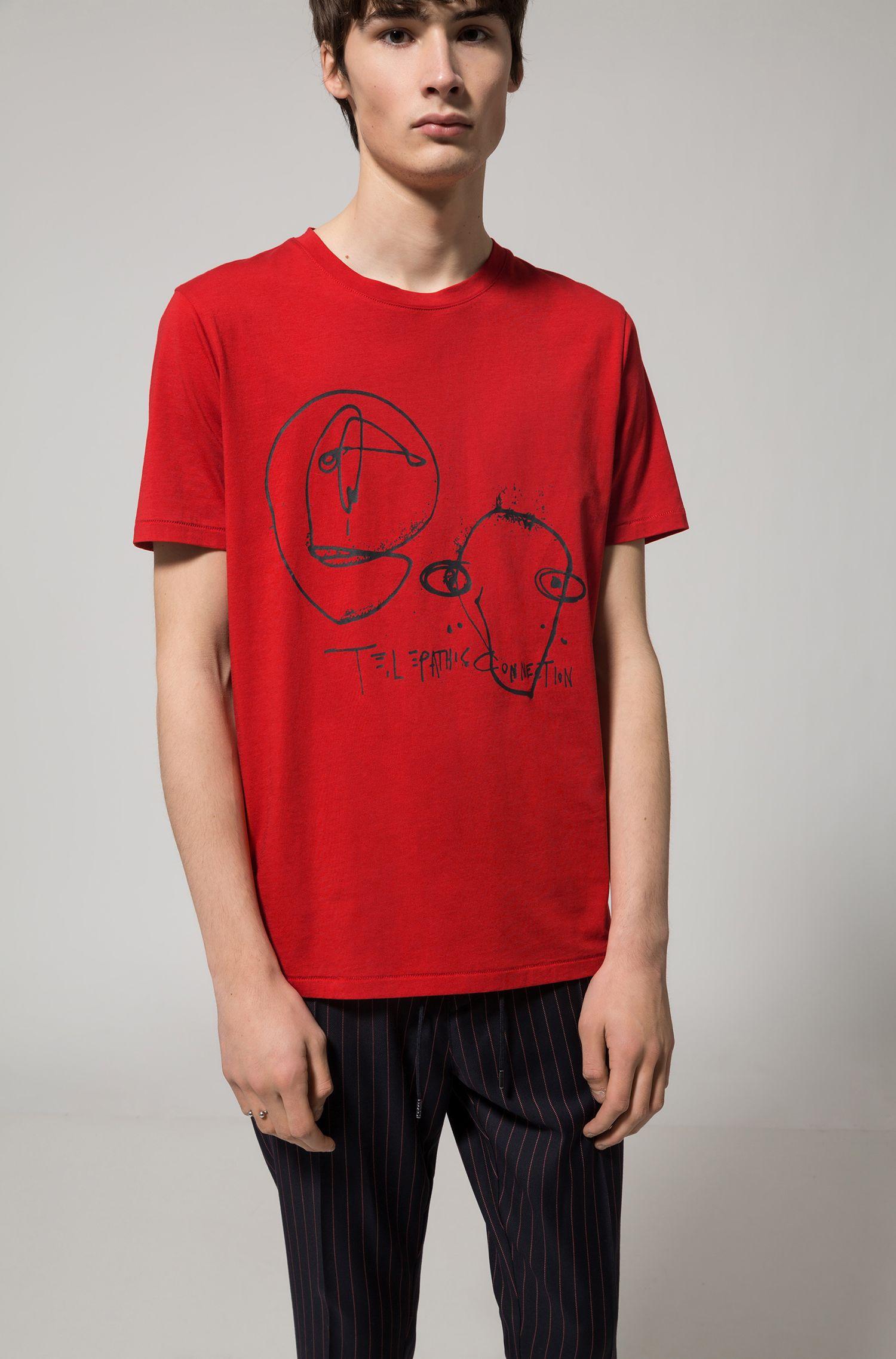Katoenen T-shirt met gerubberde epigramprint