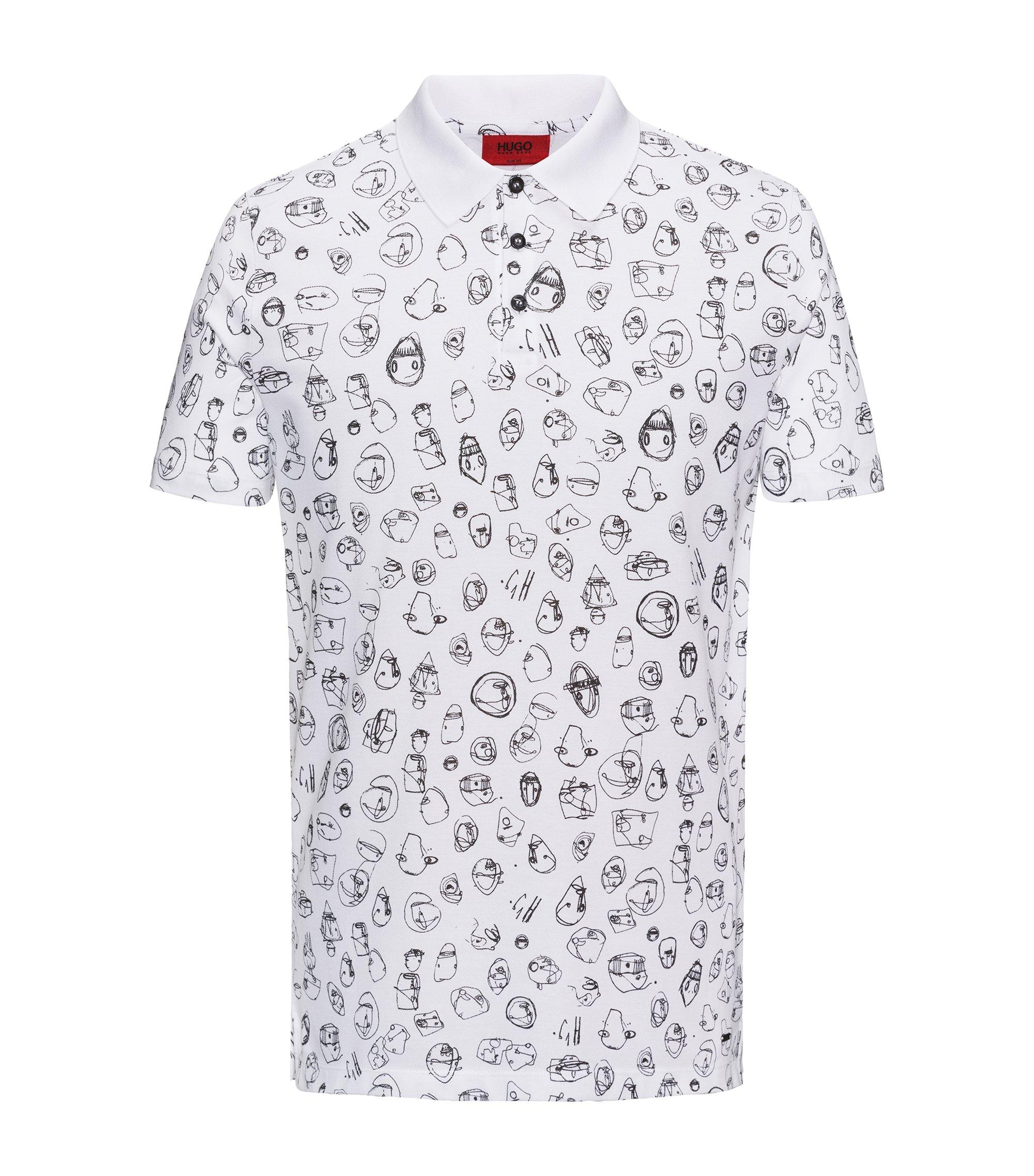 Poloshirt aus gestricktem Baumwoll-Piqué mit Print, Weiß