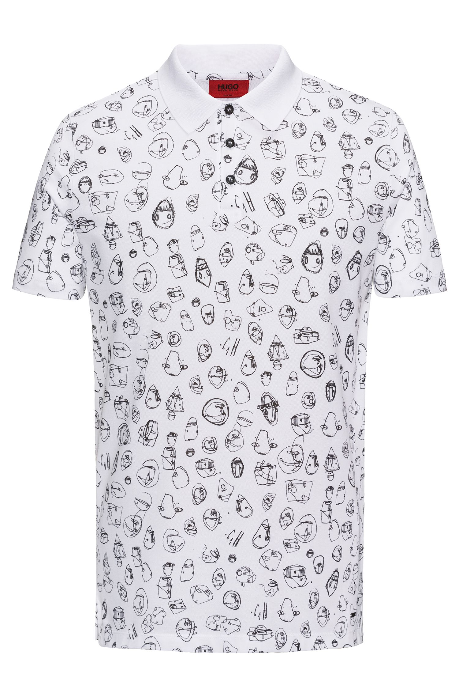Printed polo shirt in knitted cotton piqué